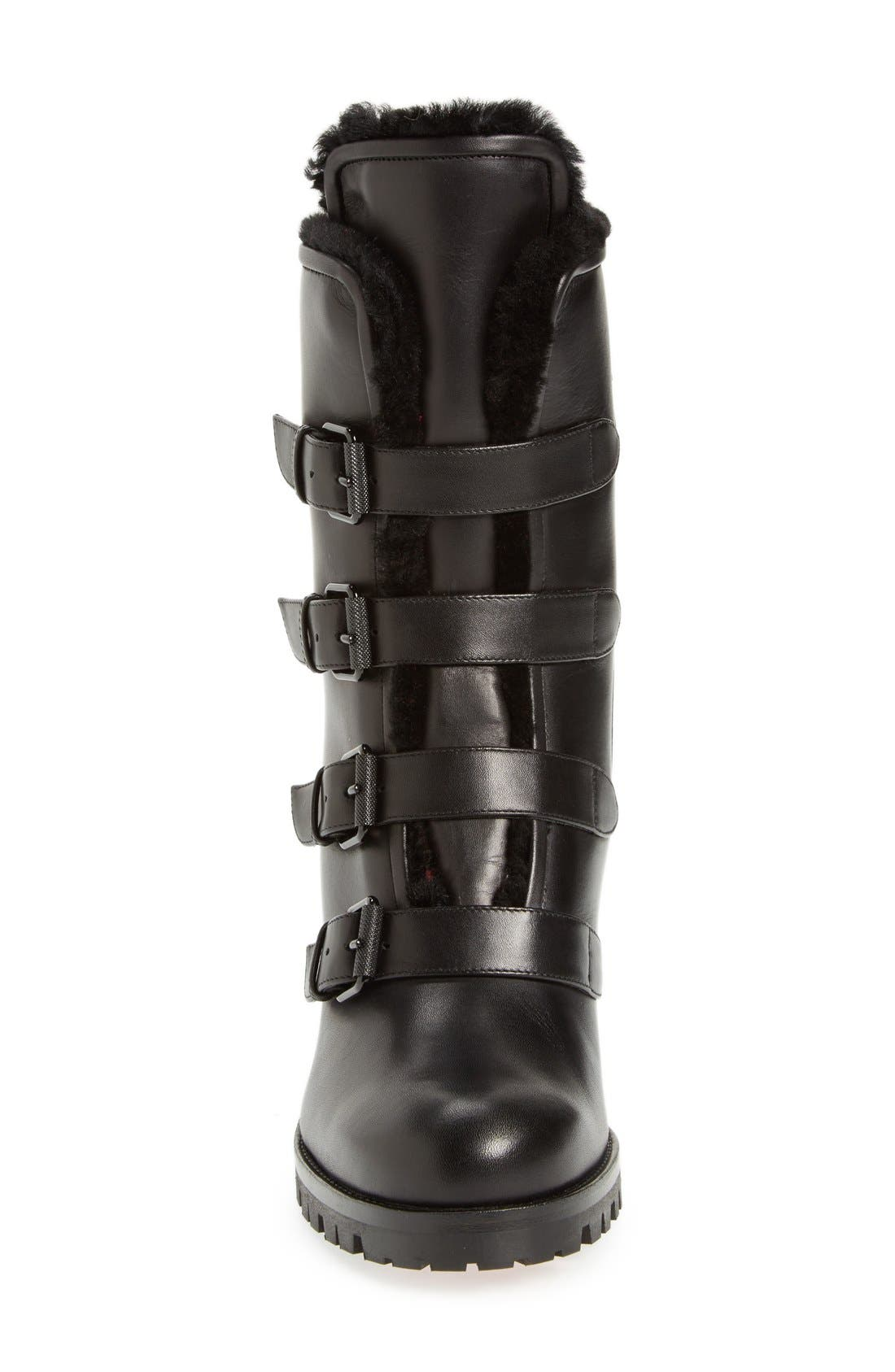 'Glorymount' Studded Buckle Boot,                             Alternate thumbnail 3, color,                             Black Leather