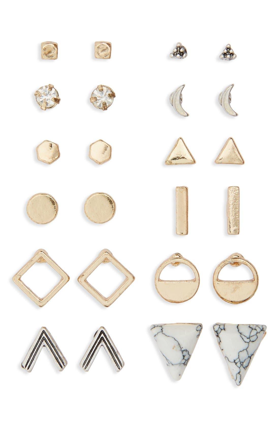 Geometric Stud Earrings,                         Main,                         color, Gold