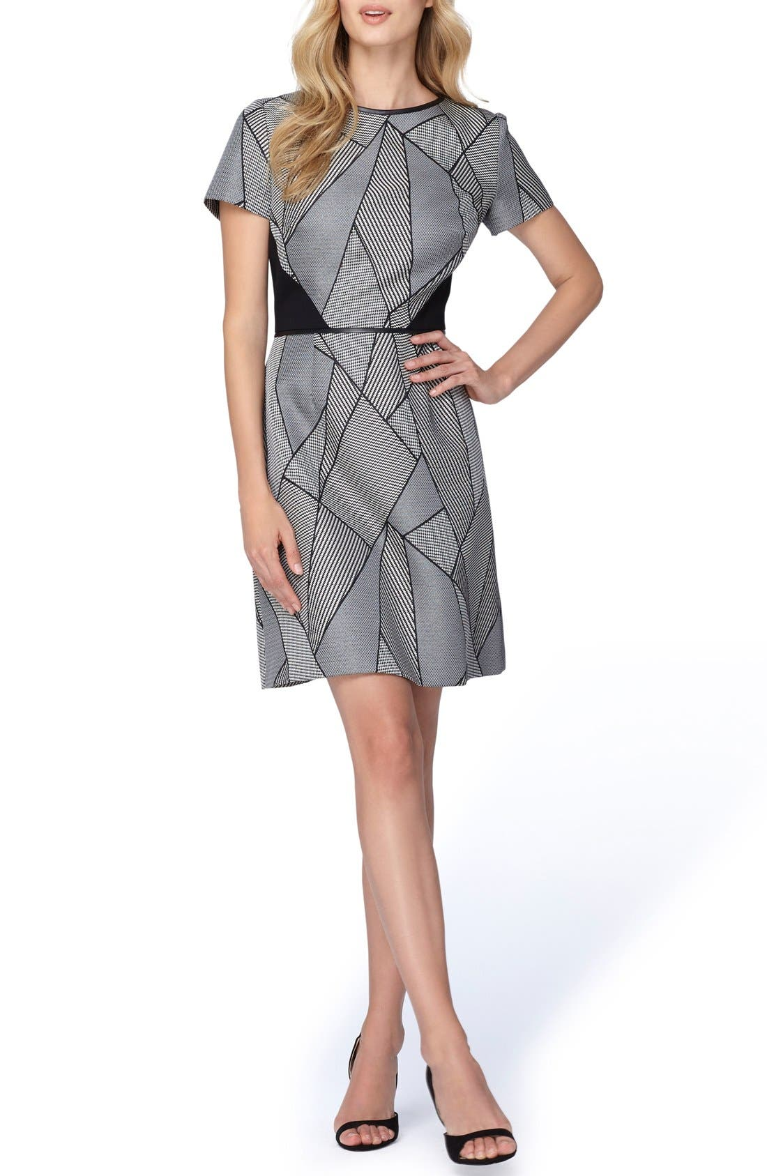 Main Image - Tahari Geometric Jacquard A-Line Dress (Regular & Petite)