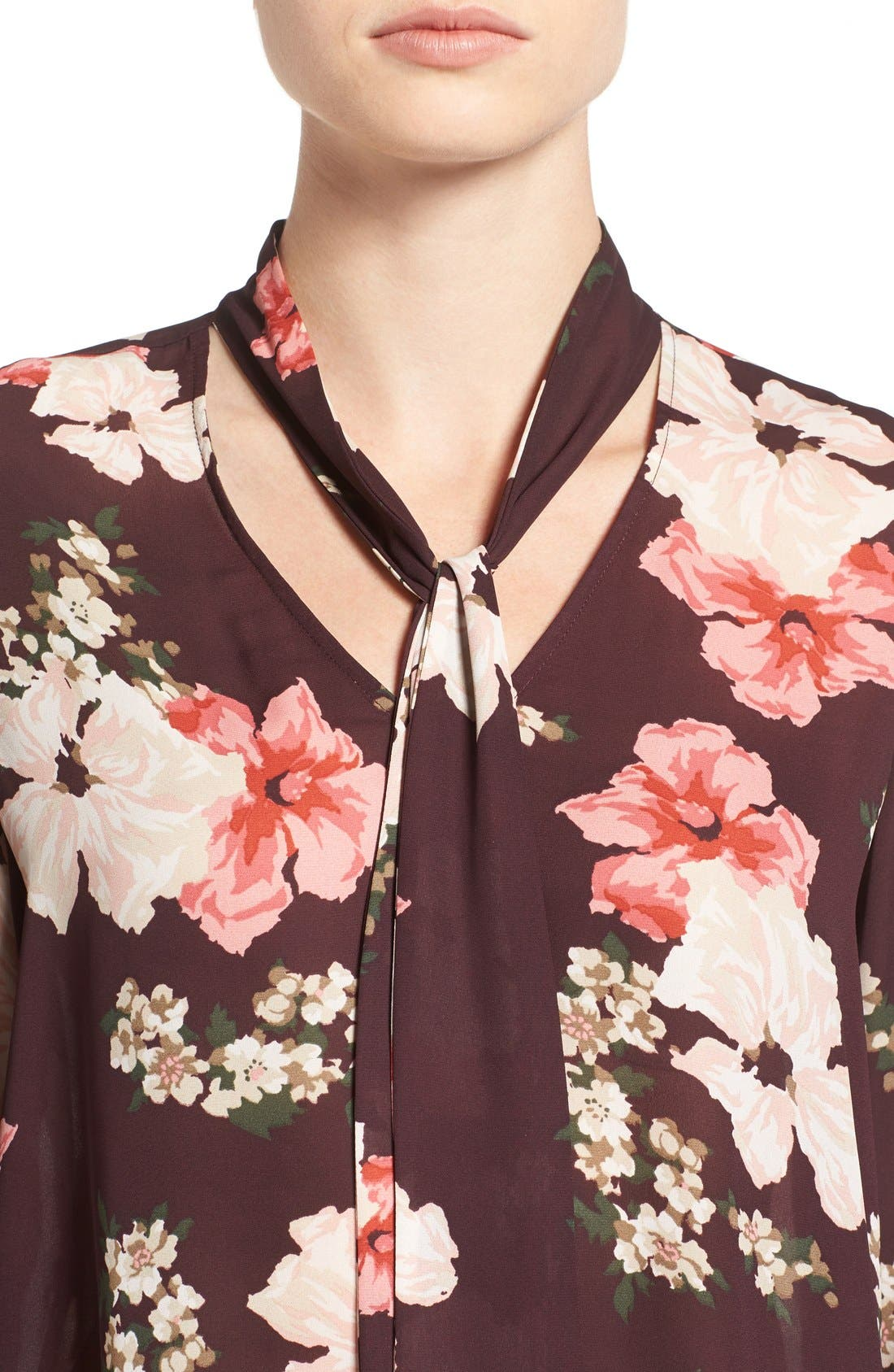 Alternate Image 4  - cupcakes and cashmere Floral Print Tie Neck Blouse