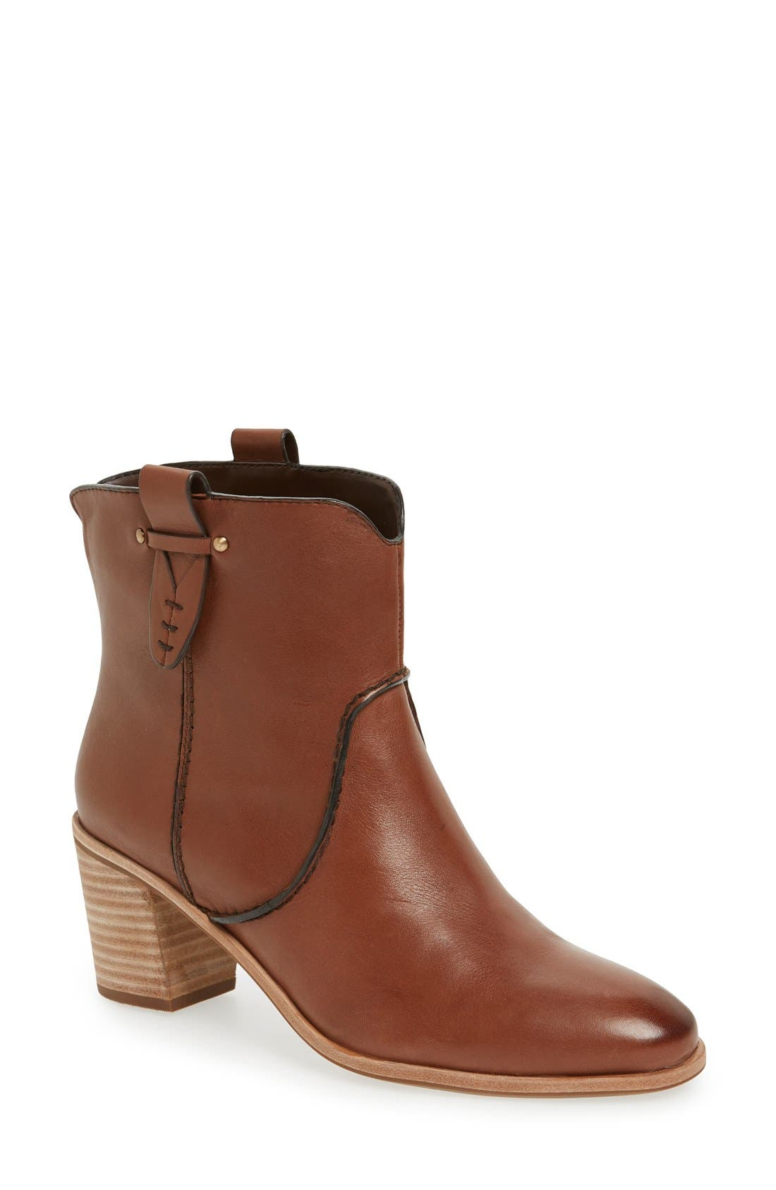 'Sophia' Pull-On Bootie,                             Main thumbnail 1, color,                             Whiskey Leather
