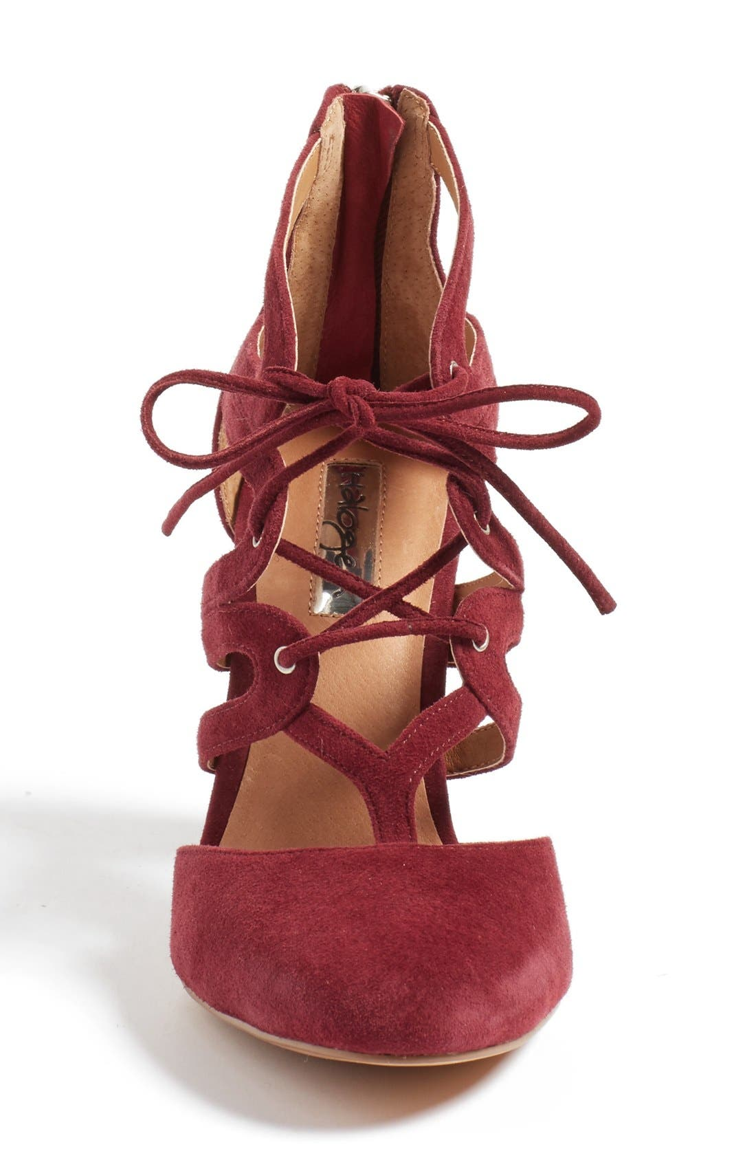 'Sydney' Block Heel Ghillie Pump,                             Alternate thumbnail 3, color,                             Burgundy Suede
