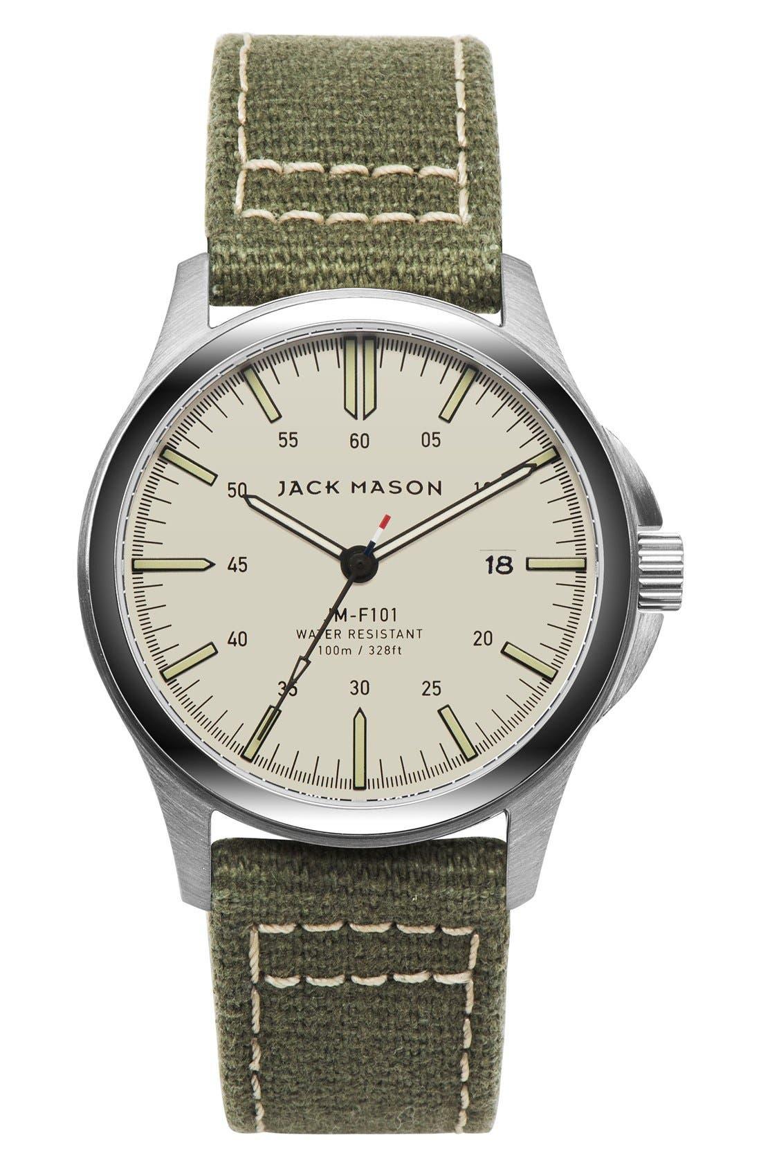 Canvas Strap Watch, 42mm,                         Main,                         color, Khaki/ Green