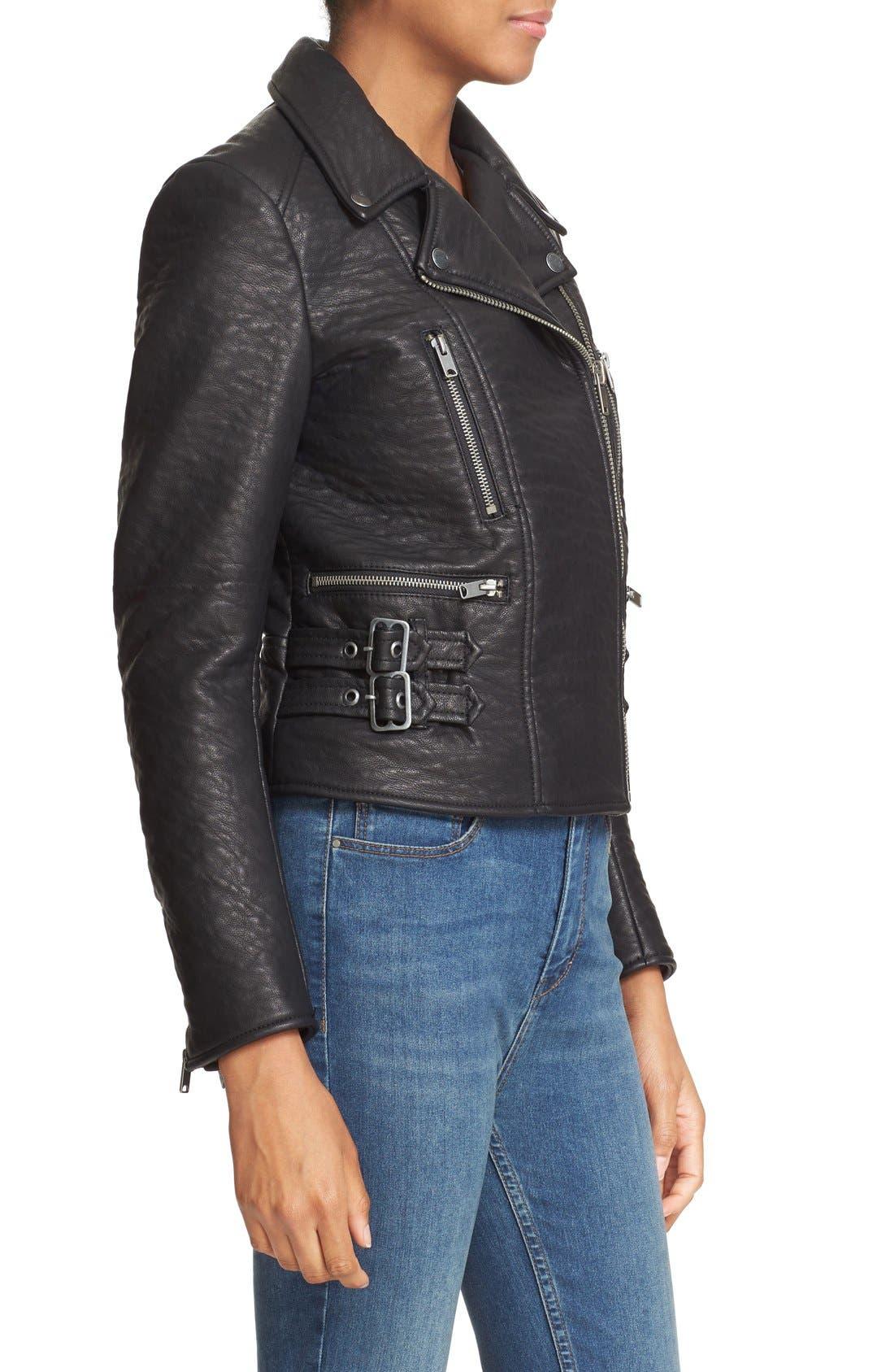 'Soho' Faux Leather Moto Jacket,                             Alternate thumbnail 3, color,                             Black