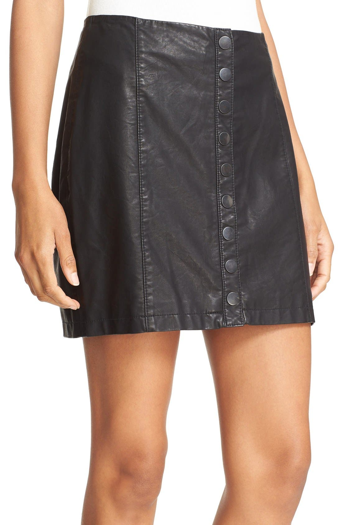 Alternate Image 6  - Free People 'Oh Snap' Faux Leather Miniskirt