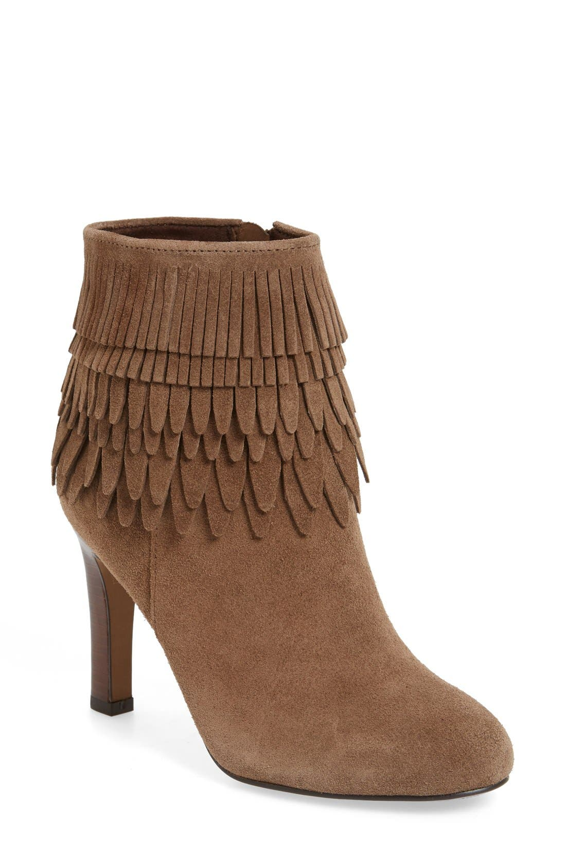 'Layton' Fringe Bootie,                             Main thumbnail 1, color,                             Havana Brown Suede