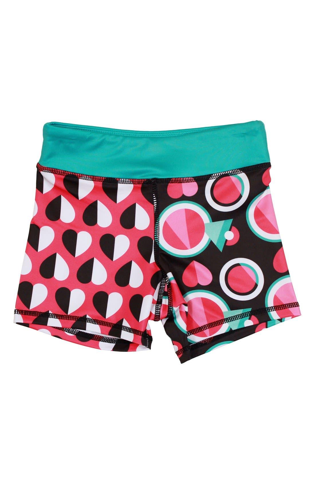 'Splits' Mixed Print Shorts,                         Main,                         color, Graph