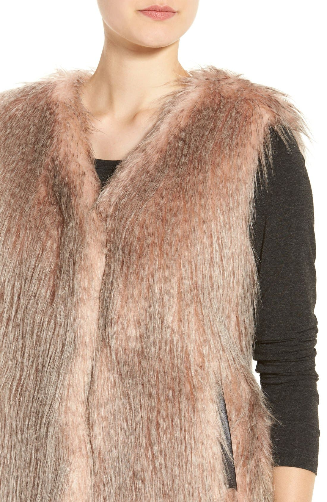 Collarless Faux Fur Vest,                             Alternate thumbnail 4, color,                             Pink Multi