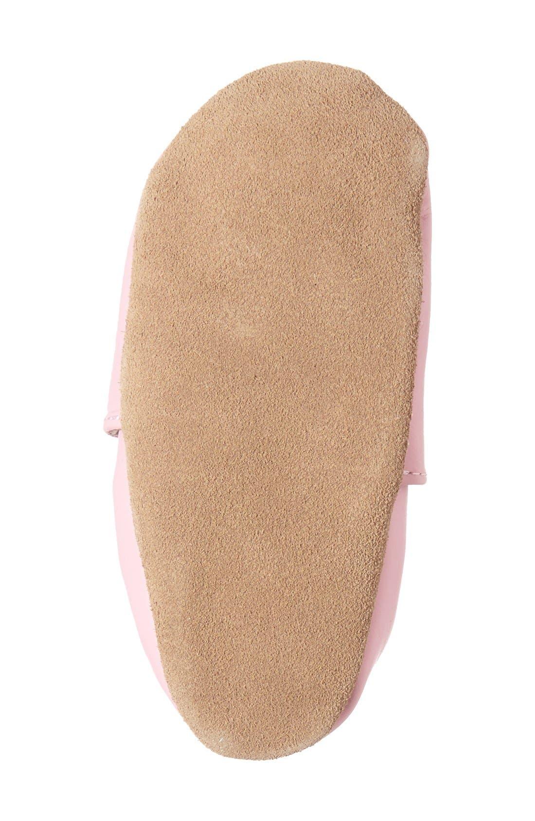 'Princess' Crib Shoe,                             Alternate thumbnail 4, color,                             Prism Pink Leather