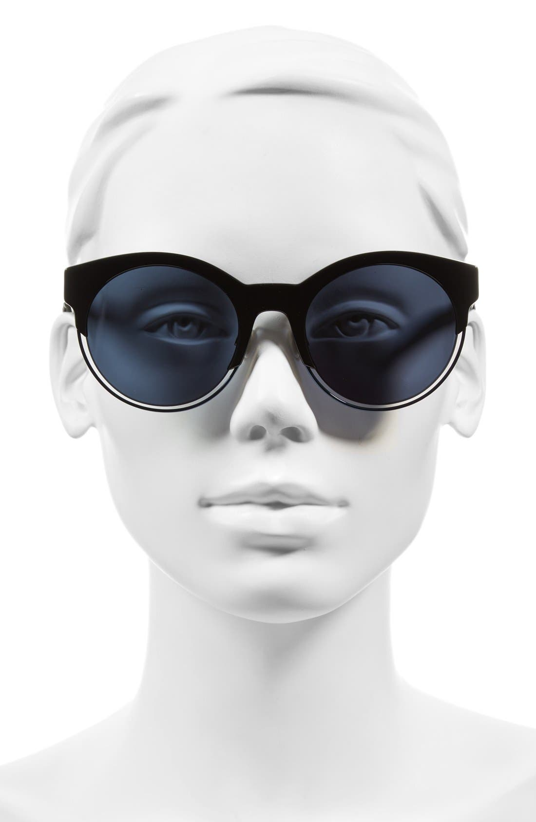Siderall 1 53mm Round Sunglasses,                             Alternate thumbnail 2, color,                             Black/ Blue