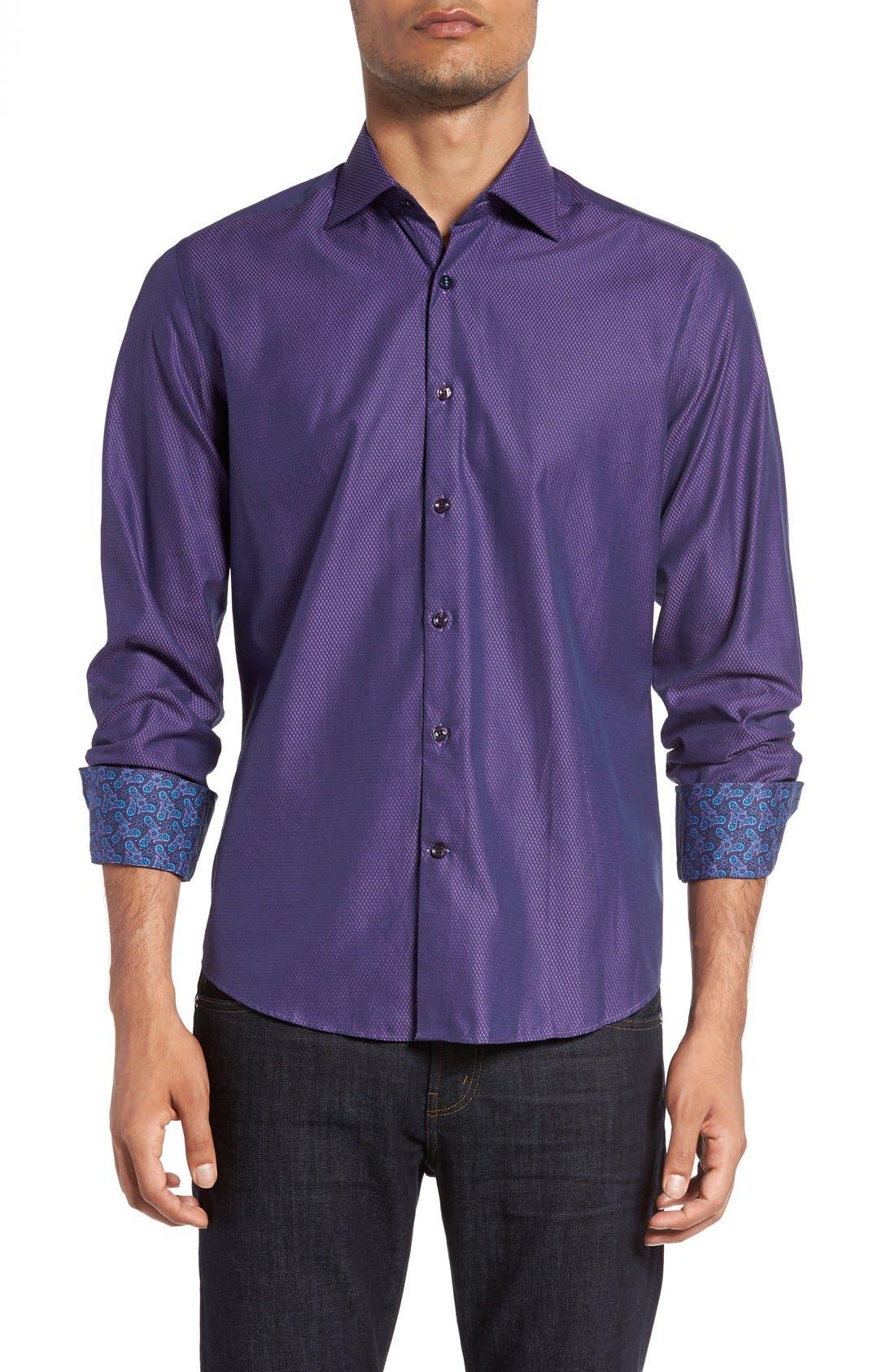 Slim Fit Diamond Jacquard Sport Shirt,                             Main thumbnail 1, color,                             Purple