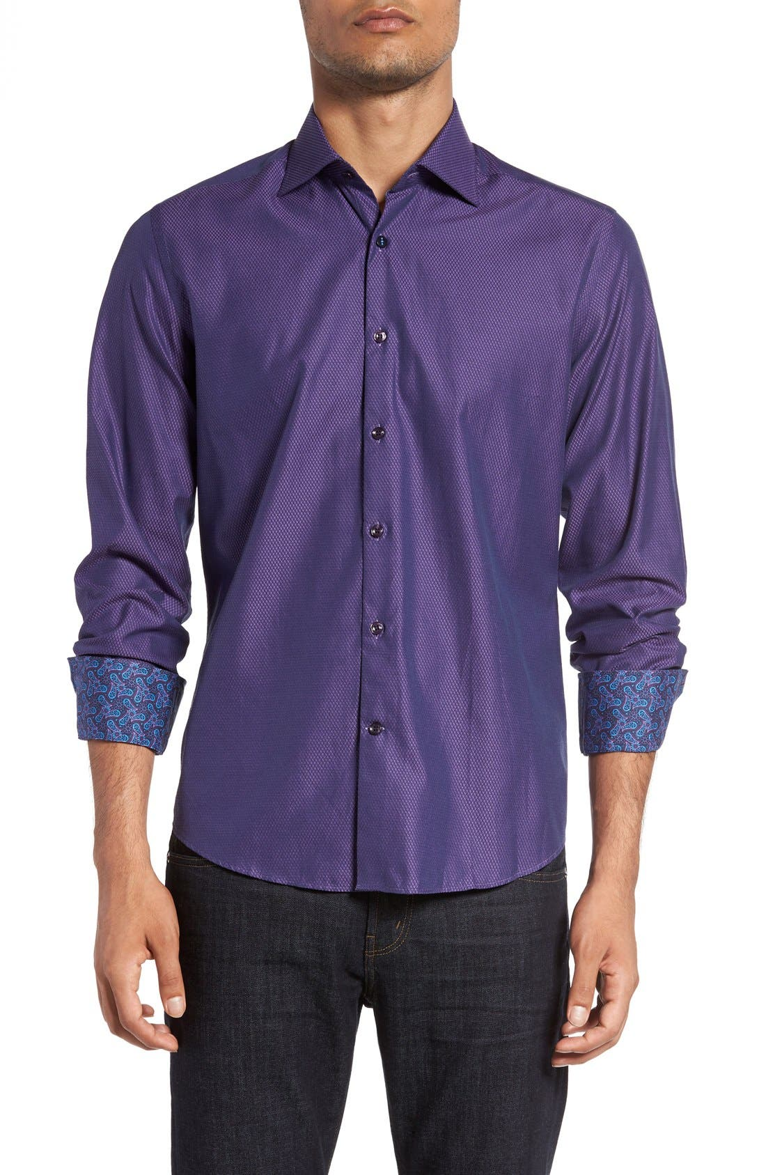 Slim Fit Diamond Jacquard Sport Shirt,                         Main,                         color, Purple