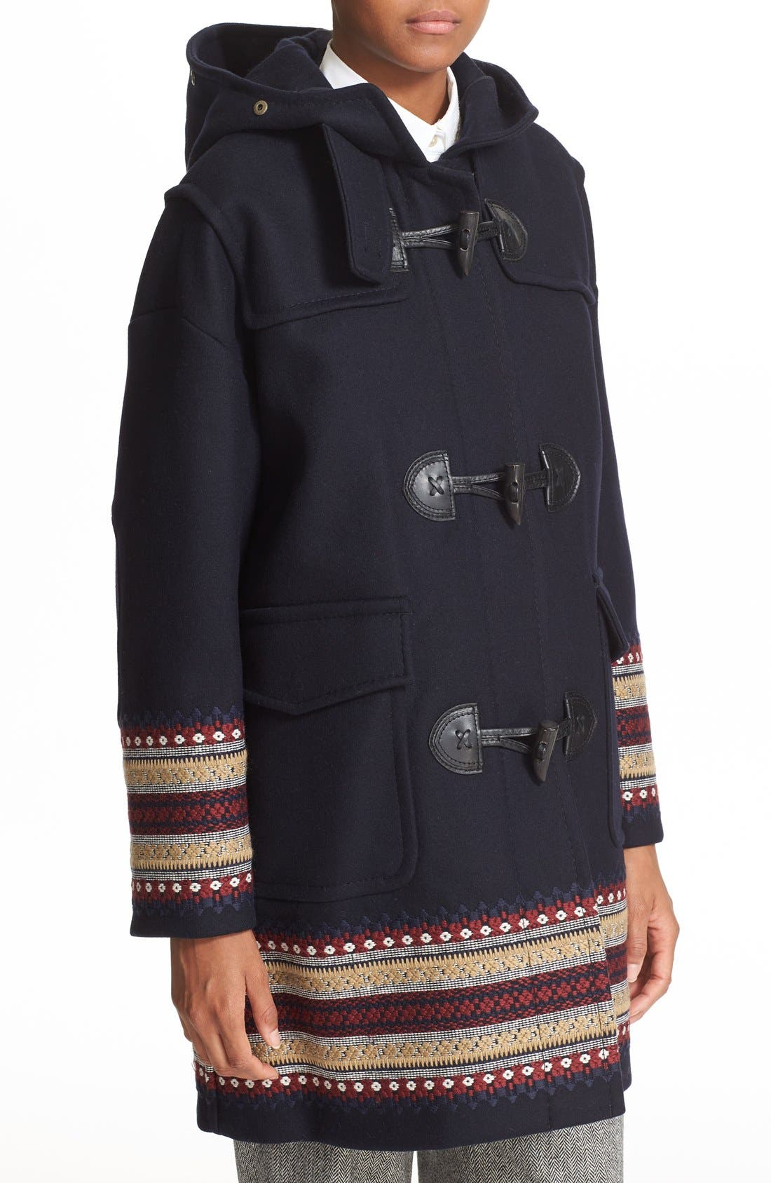 Alternate Image 4  - RED Valentino Toggle Coat with Genuine Coyote Fur Trim