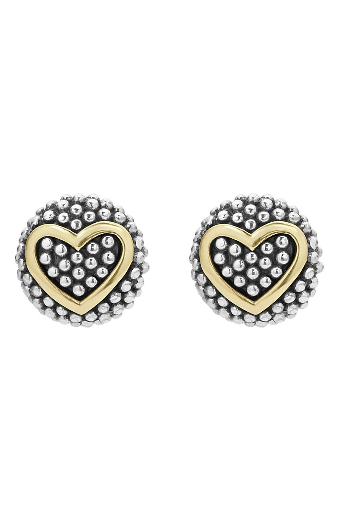'Caviar' Heart Stud Earrings,                         Main,                         color, Silver/ Gold