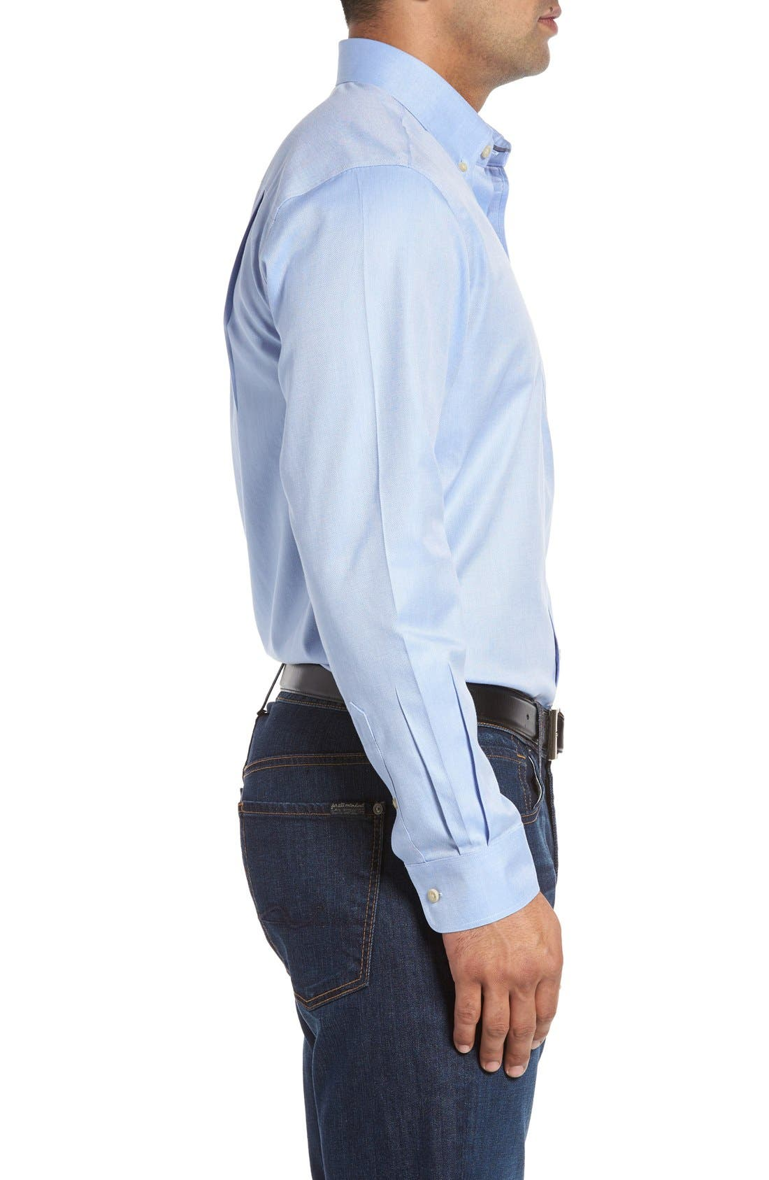 San Juan Classic Fit Wrinkle Free Solid Sport Shirt,                             Alternate thumbnail 3, color,                             Blue