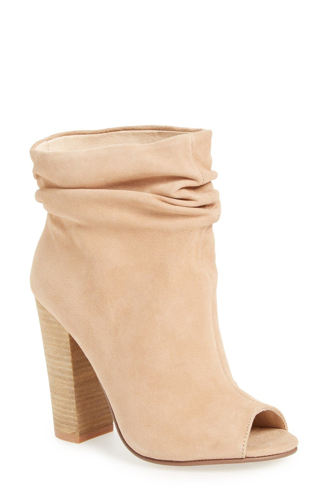 'Laurel' Peep Toe Bootie,                             Main thumbnail 1, color,                             New Nude