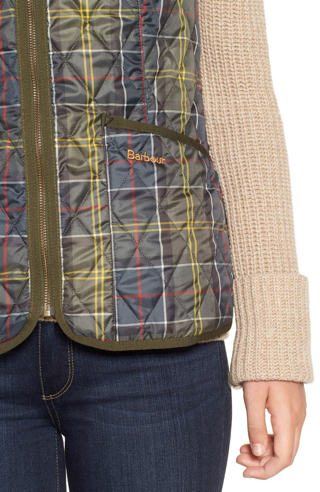 'Betty' Tartan Print Quilted Liner,                             Alternate thumbnail 4, color,                             Classic
