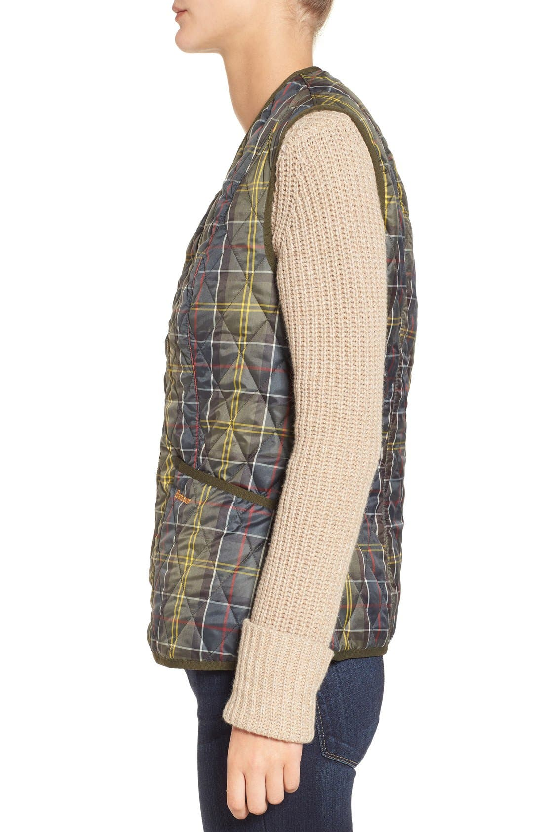 'Betty' Tartan Print Quilted Liner,                             Alternate thumbnail 3, color,                             Classic