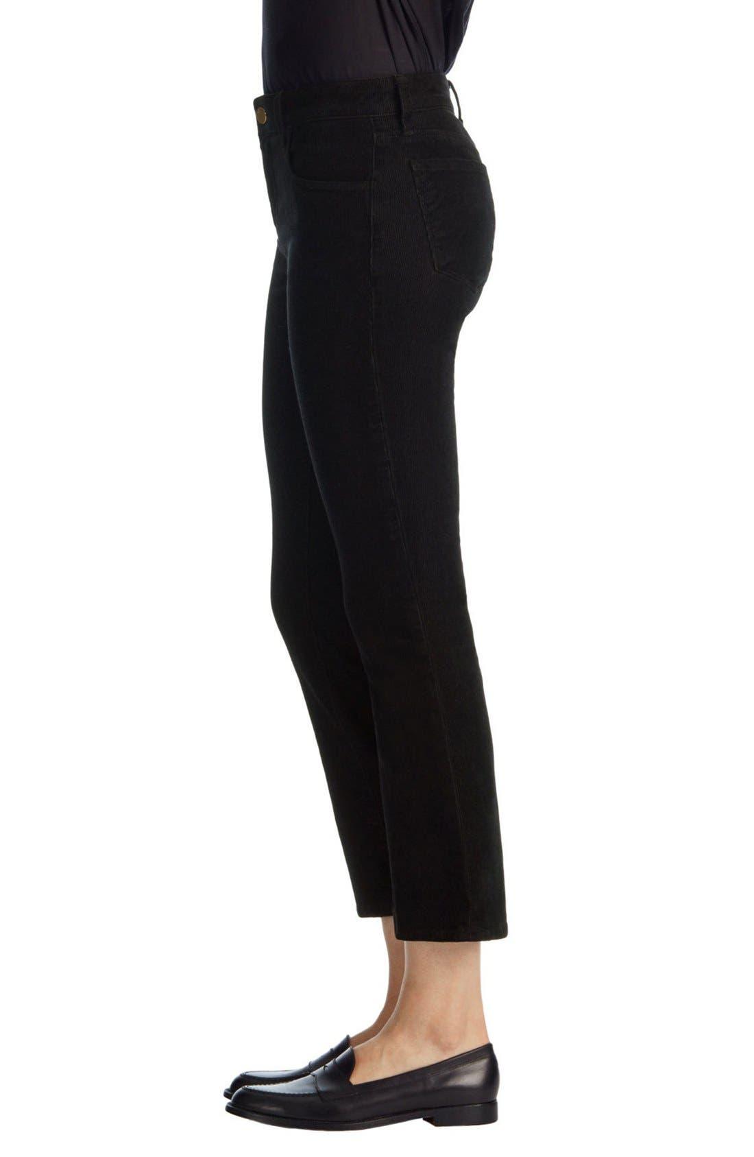 'Selena' Crop Bootcut Corduroy Pants,                             Alternate thumbnail 3, color,                             Black