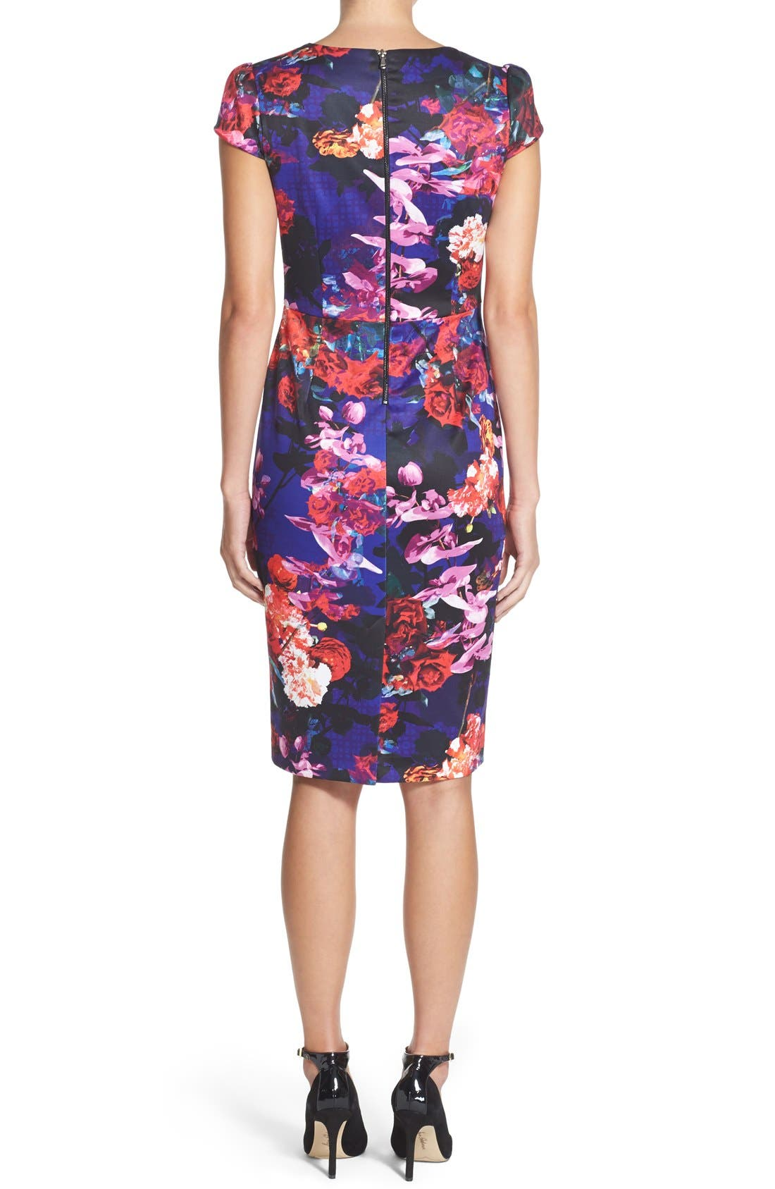 Alternate Image 2  - Betsey Johnson Print Stretch Midi Dress