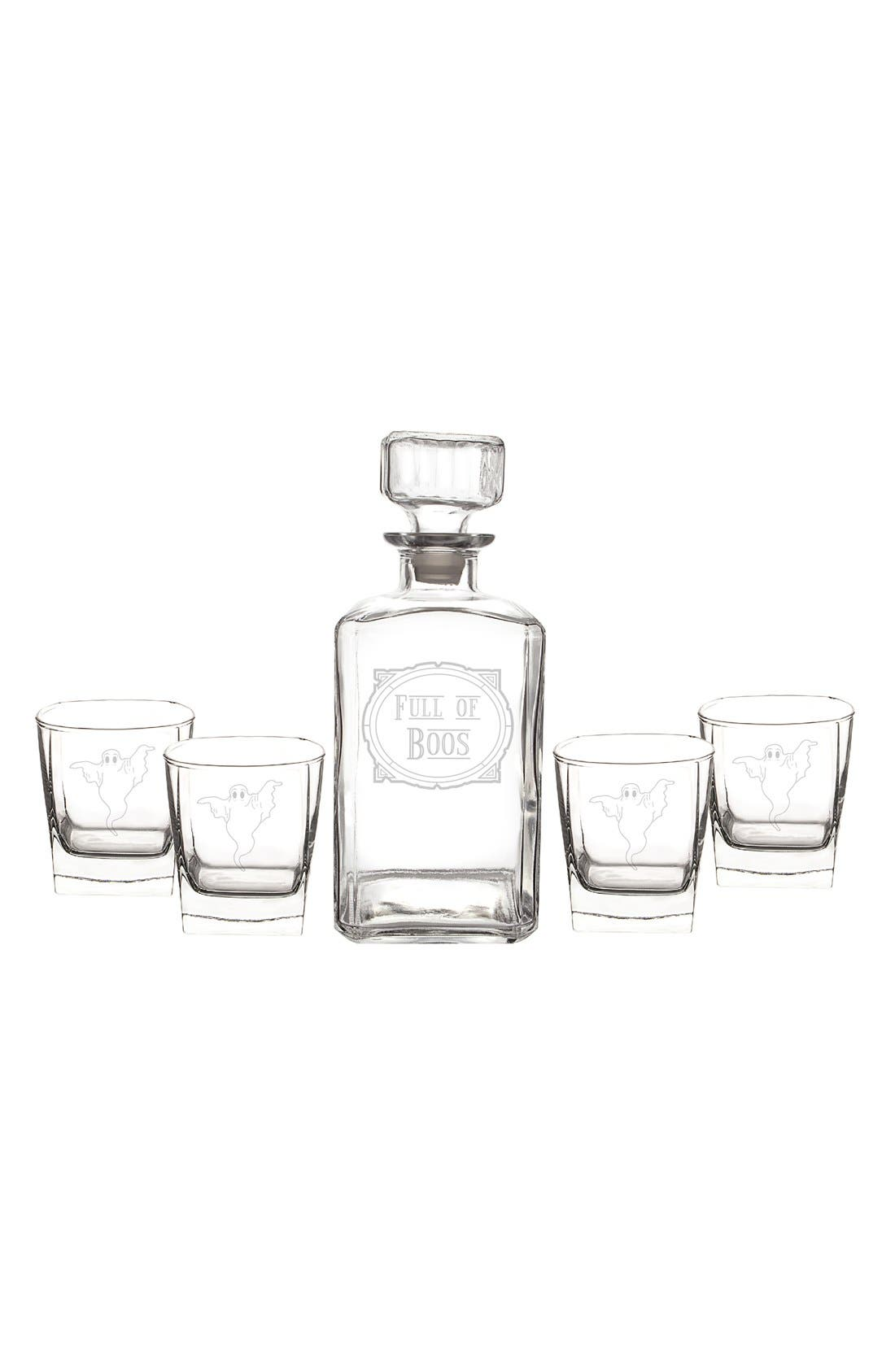 'Full of Boos' 6-Piece Glass Decanter Set,                             Alternate thumbnail 2, color,                             Clear