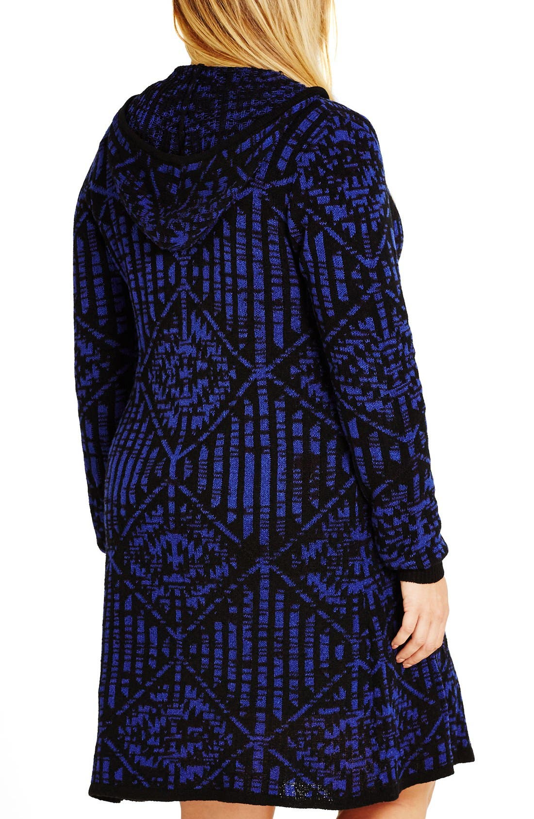 Alternate Image 2  - City Chic Geo Pattern Hooded Cardigan (Plus Size)