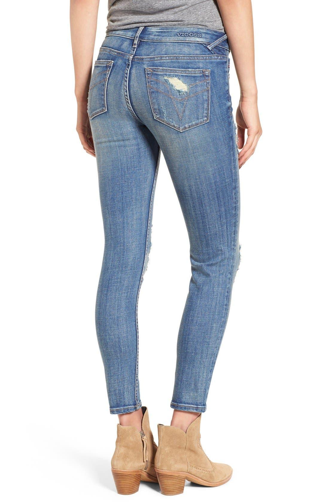 Alternate Image 2  - Vigoss 'Chelsea' Destroyed Ankle Skinny Jeans