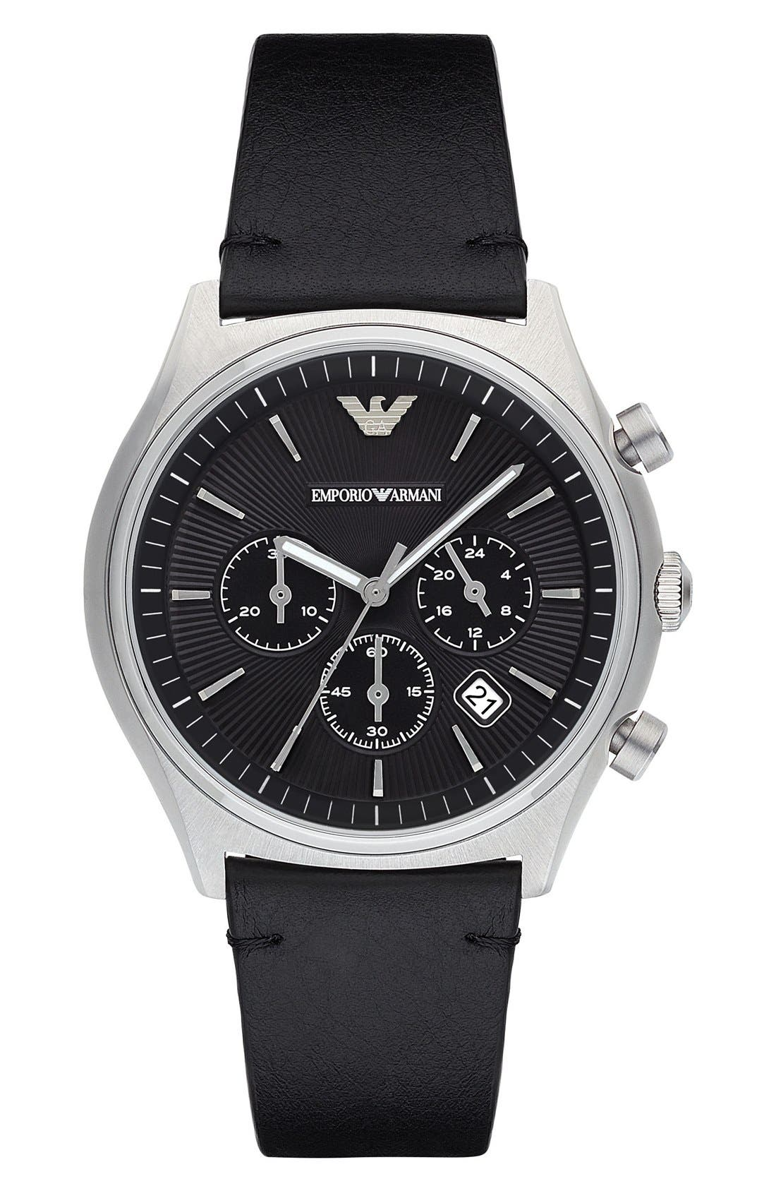 Chronograph Leather Strap Watch, 43mm,                         Main,                         color, Black