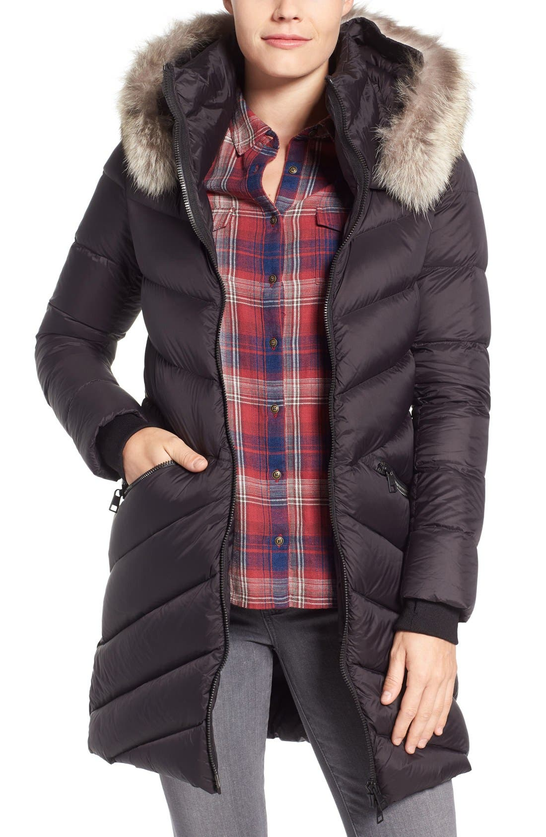 Soia & Kyo Quilted Down Parka with Genuine Coyote Fur Trim Hood