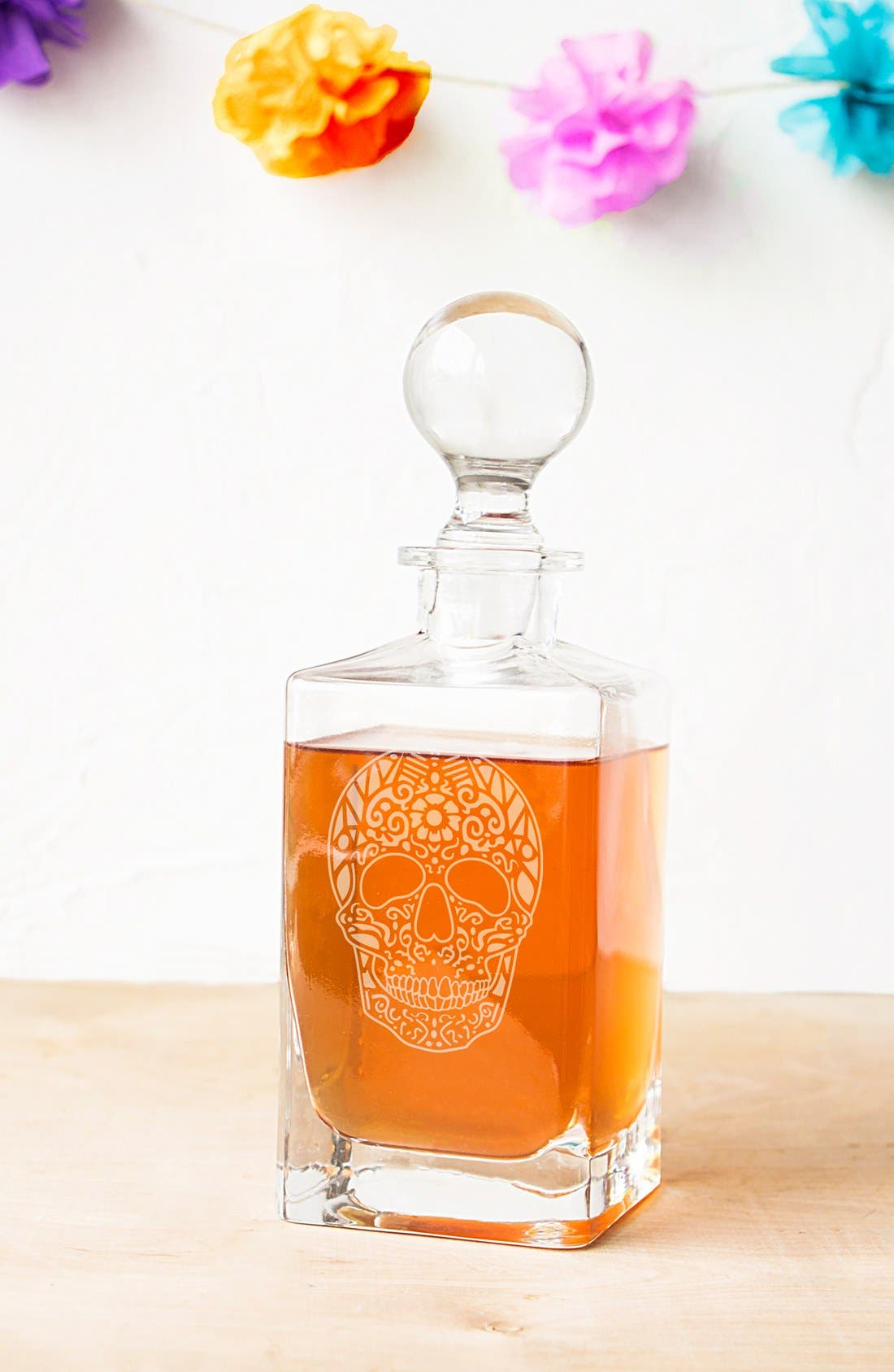 'Sugar Skull' Glass Decanter,                             Main thumbnail 1, color,                             Clear