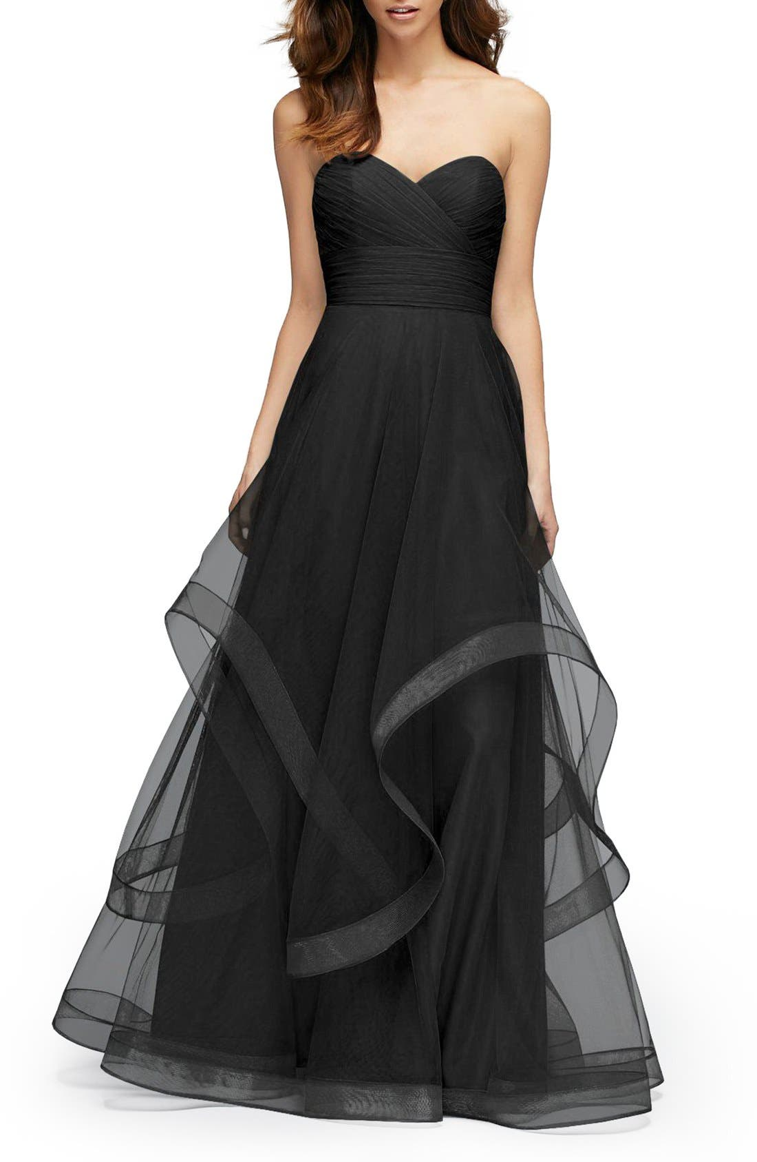 Main Image - Watters 'Florian' Strapless Horsehair Ruffle Tulle A-Line Gown