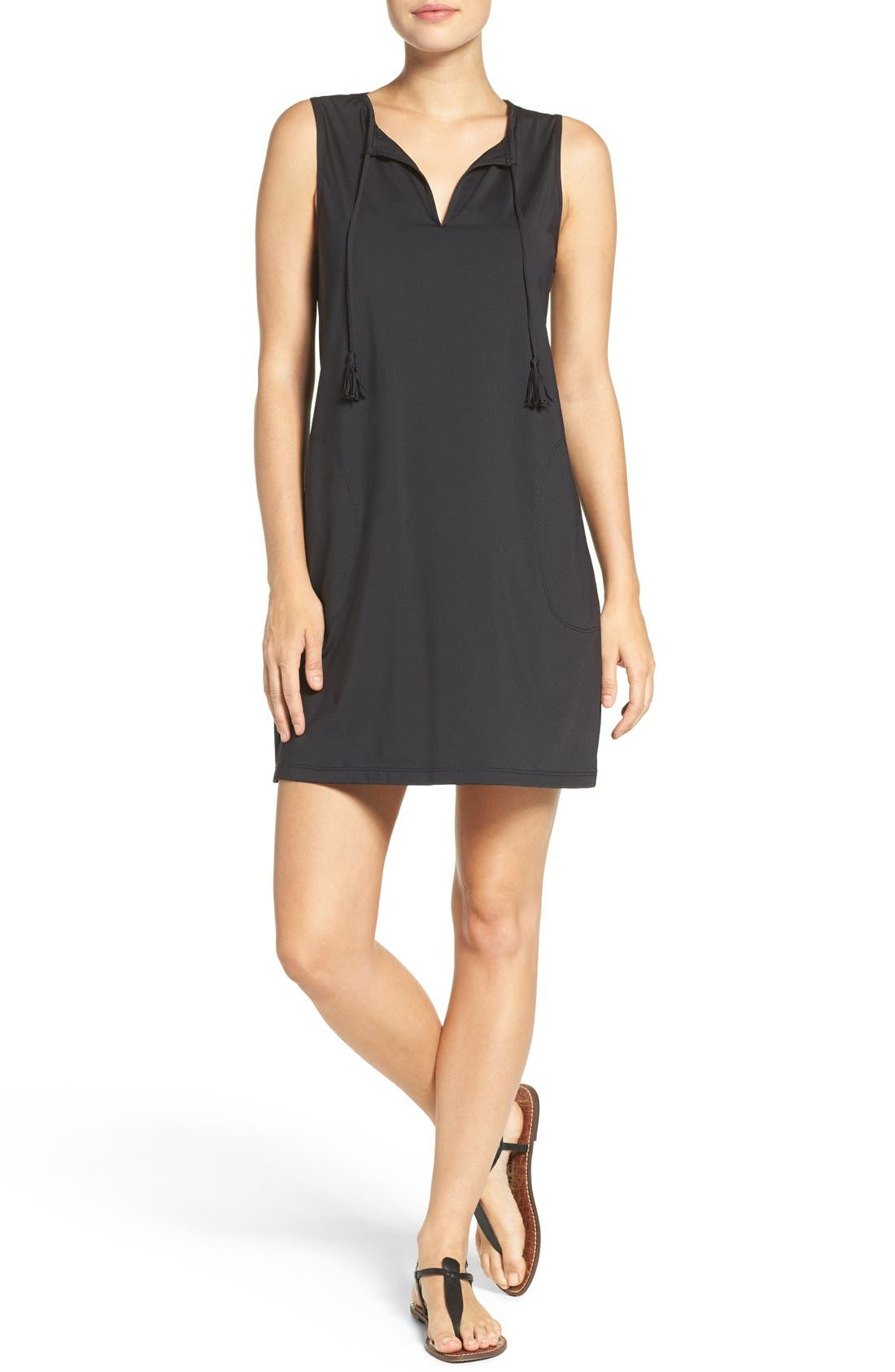'Pearl' Split Neck Cover-Up Dress,                         Main,                         color, Black