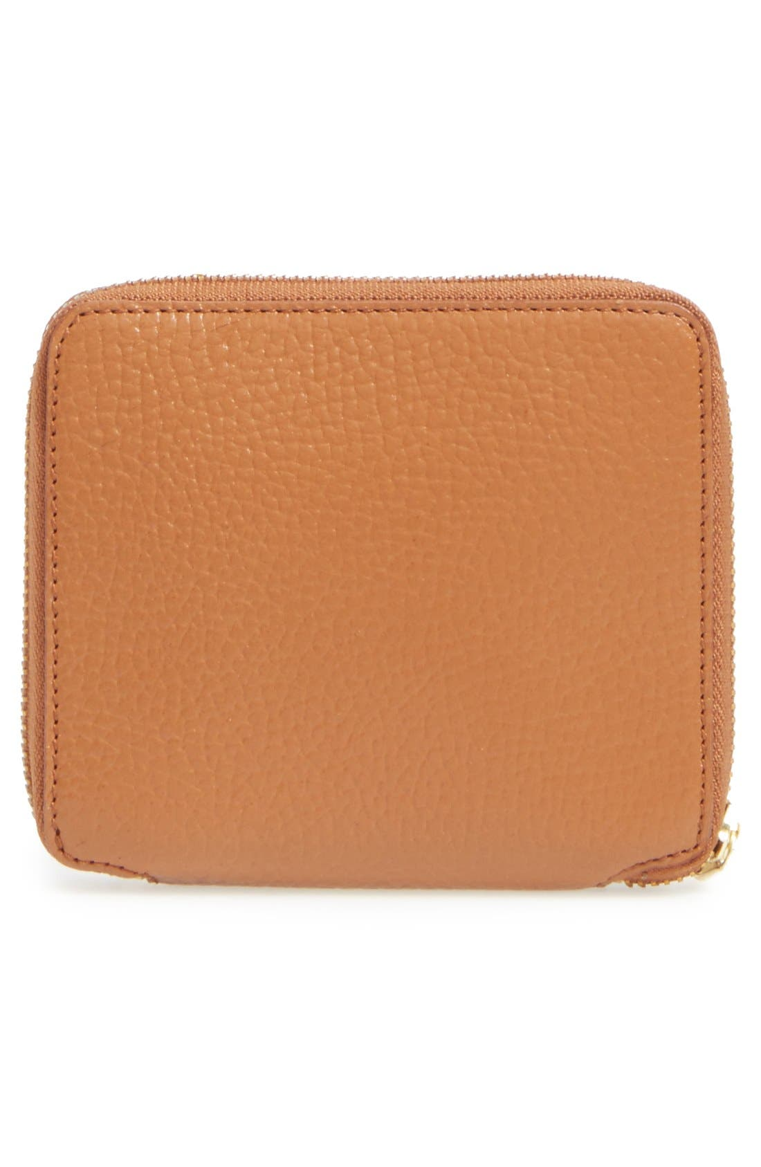 Leather Wallet,                             Alternate thumbnail 3, color,                             Brown/ Orange