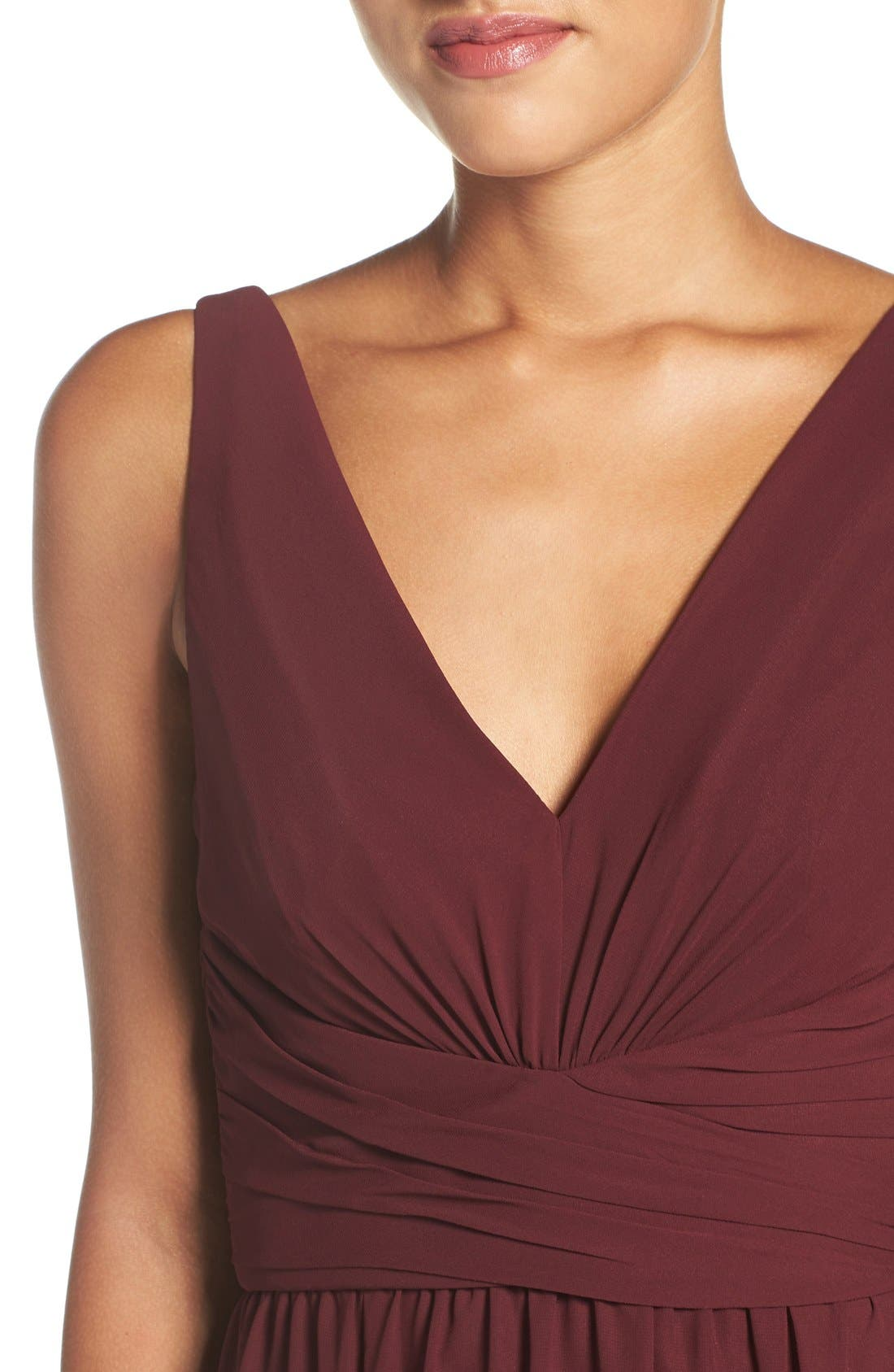'Justine' Double V-Neck Chiffon Gown,                             Alternate thumbnail 4, color,                             Ruby