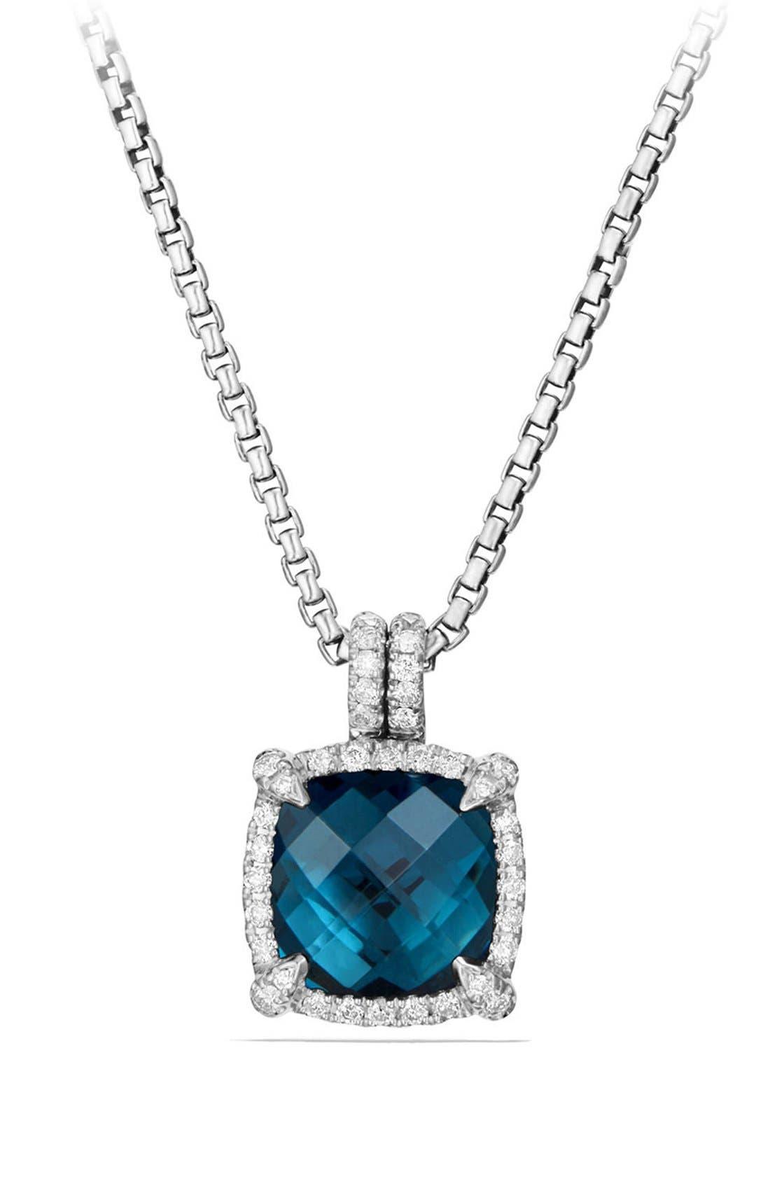 'Châtelaine' Small Pavé Bezel Pendant Necklace with Diamonds,                         Main,                         color, Blue Topaz