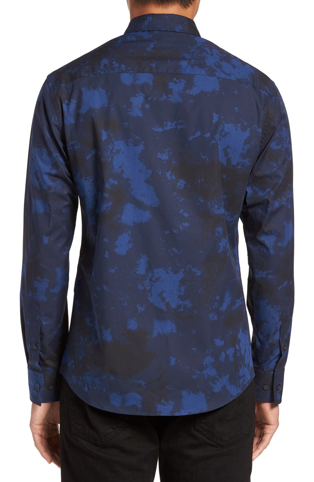 Slim Fit Sport Shirt,                             Alternate thumbnail 2, color,                             Navy/ Black Dyed Print