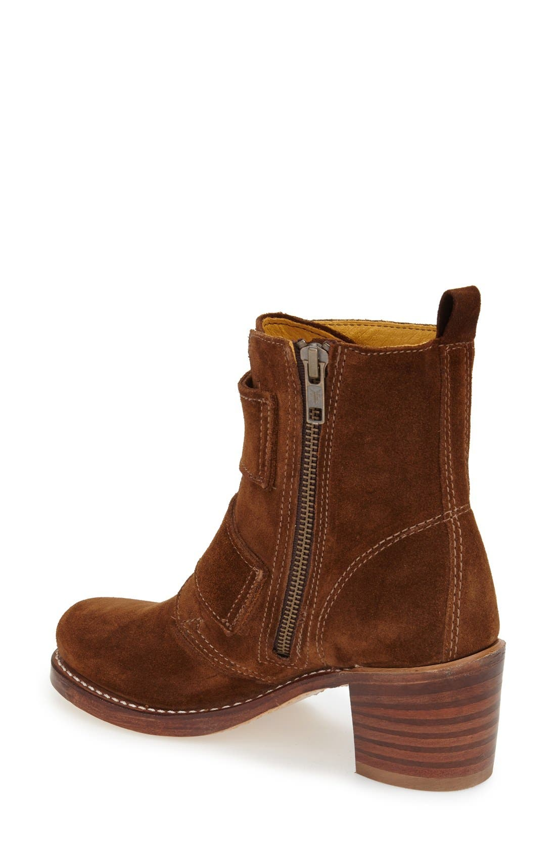 'Sabrina' Double Buckle Boot,                             Alternate thumbnail 2, color,                             Wood Oiled Suede
