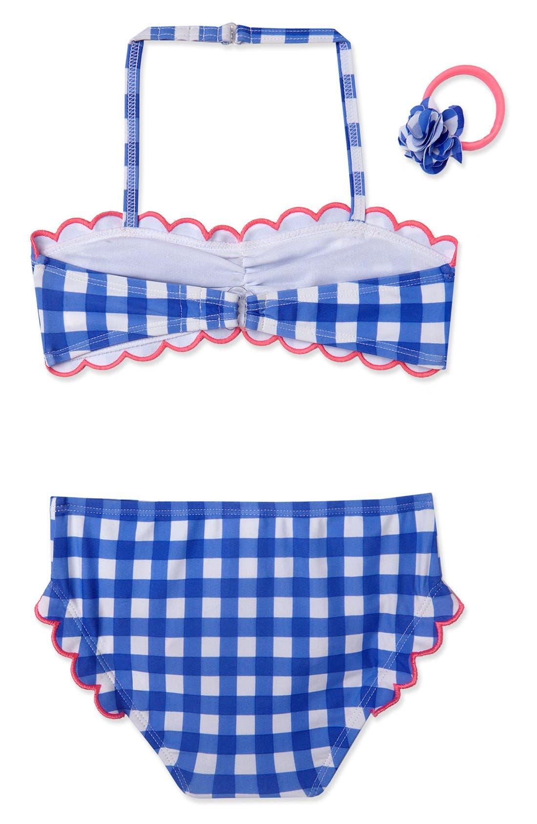 Gingham Two-Piece Swimsuit & Ponytail Holder Set,                             Alternate thumbnail 2, color,                             Cobalt