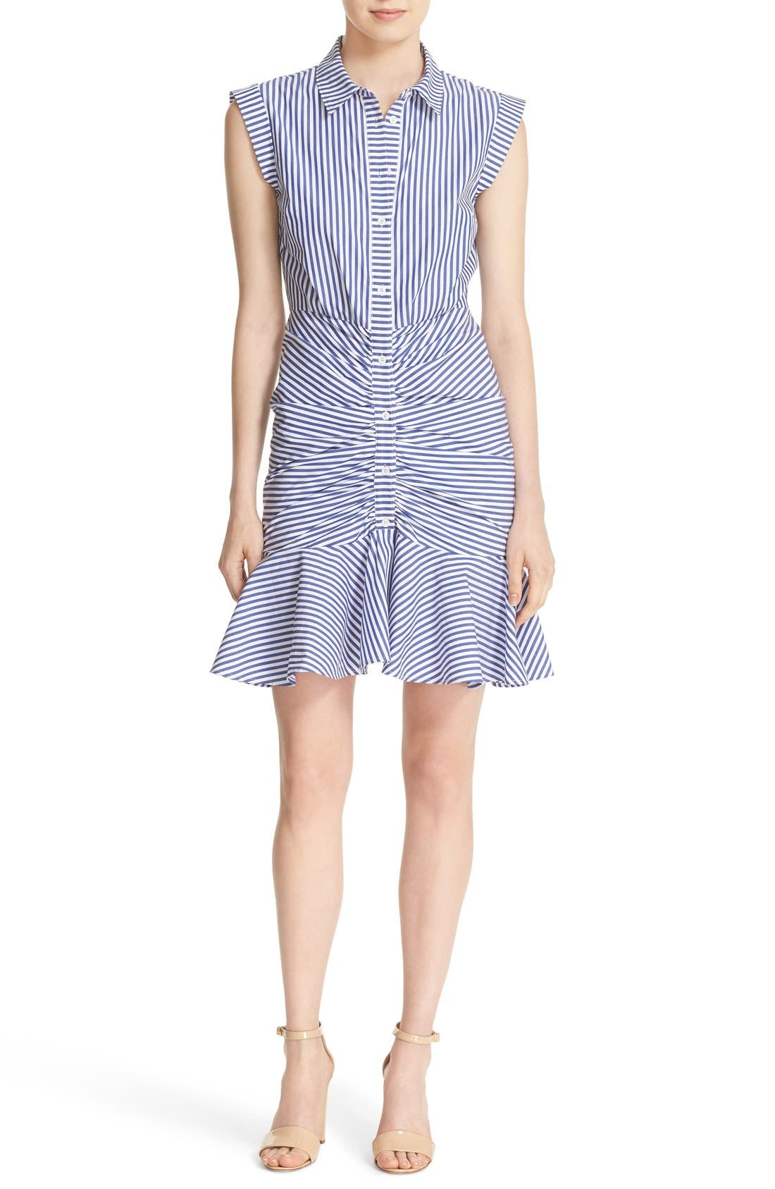 Bell Stripe Ruched Shirtdress,                         Main,                         color, Blue/ White