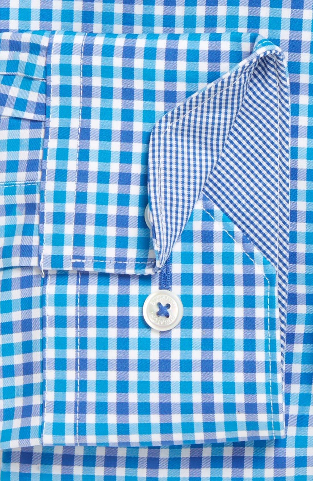 Trim Fit Check Dress Shirt,                             Alternate thumbnail 2, color,                             Turquoise