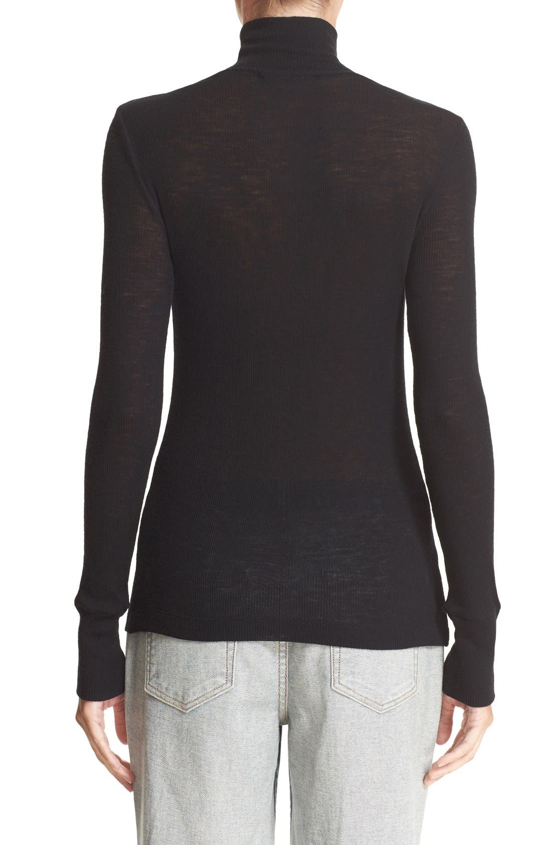 Alternate Image 2  - T by Alexander Wang Sheer Wool Turtleneck