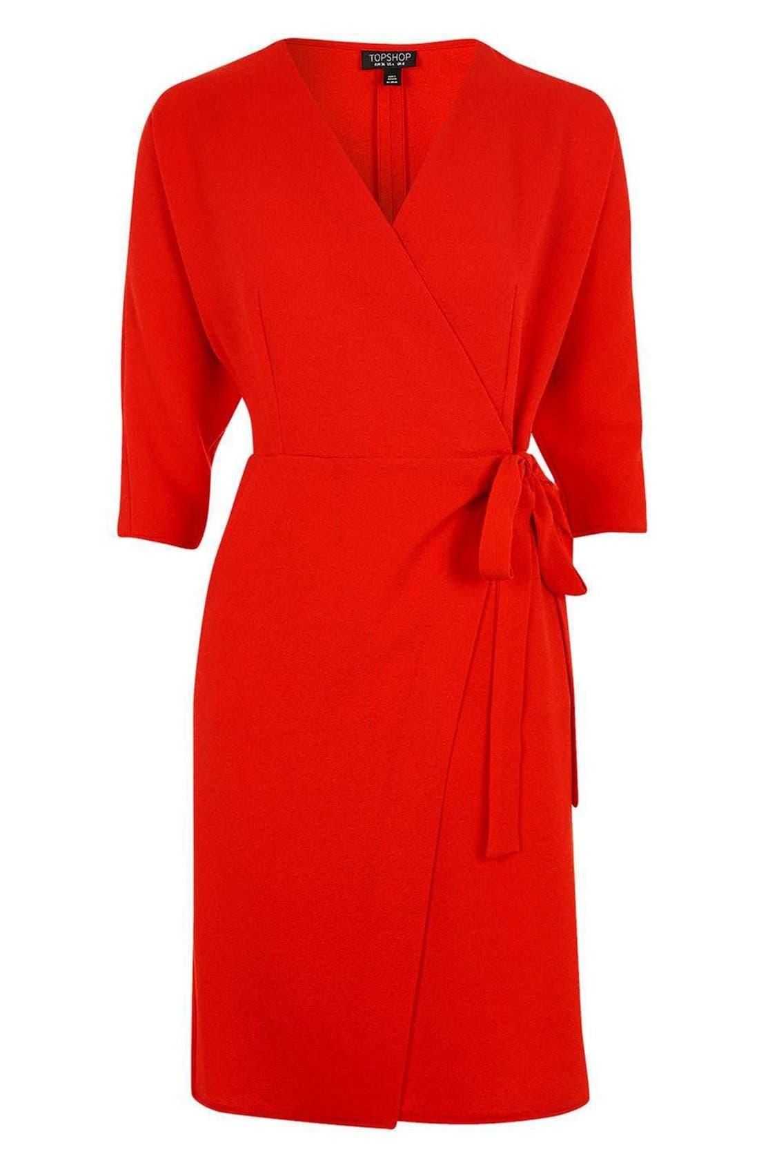 Dolman Sleeve Wrap Midi Dress,                             Alternate thumbnail 3, color,                             Red