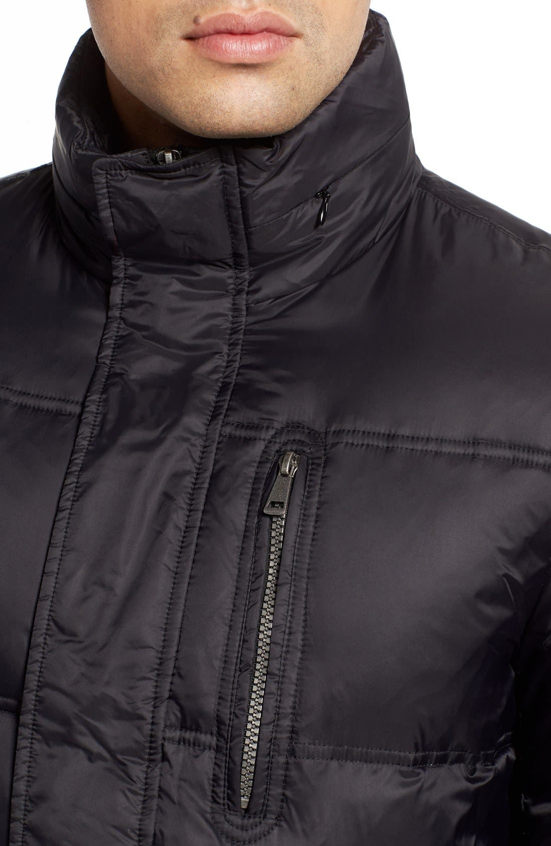 Quilted Jacket with Convertible Neck Pillow,                             Alternate thumbnail 4, color,                             Black