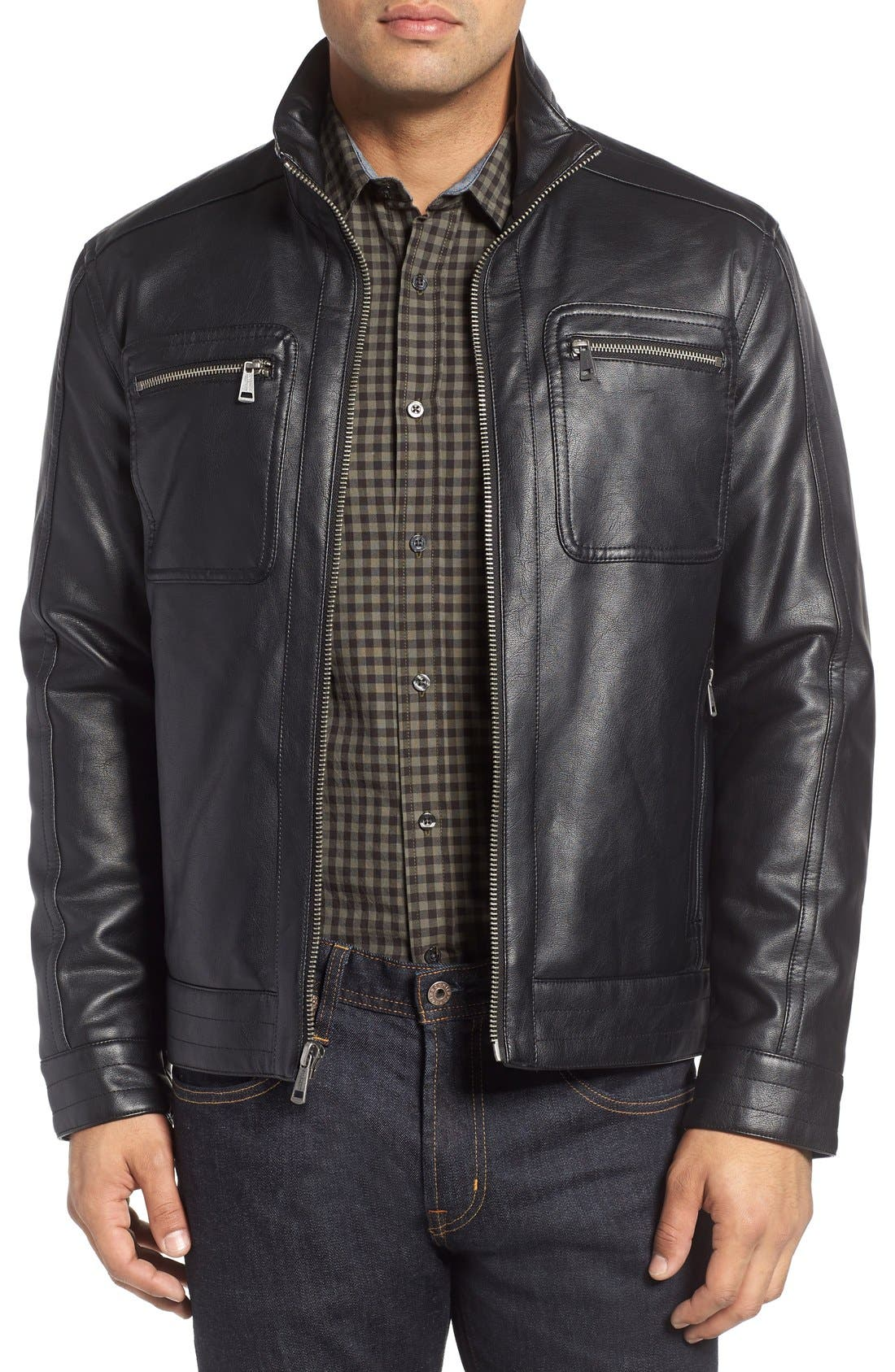 Faux Leather Zip Jacket,                         Main,                         color, Black