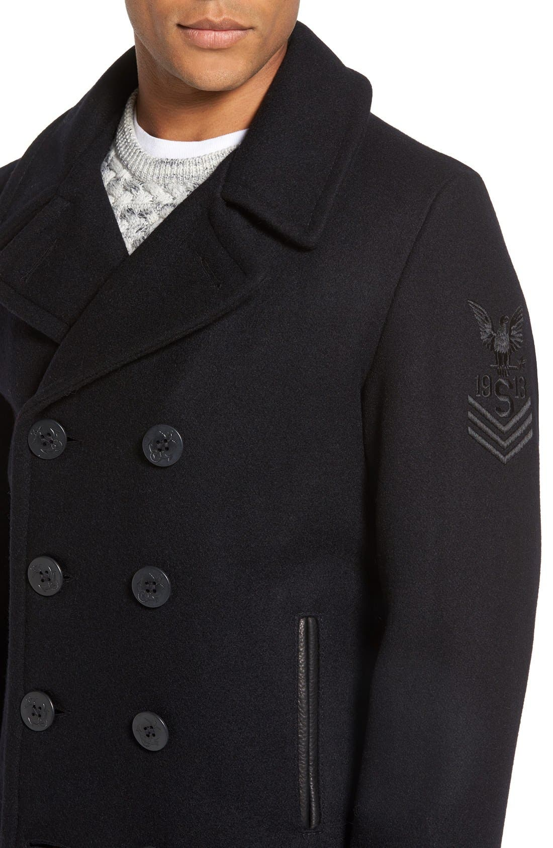 Embroidered Wool Blend Peacoat,                             Alternate thumbnail 4, color,                             Navy