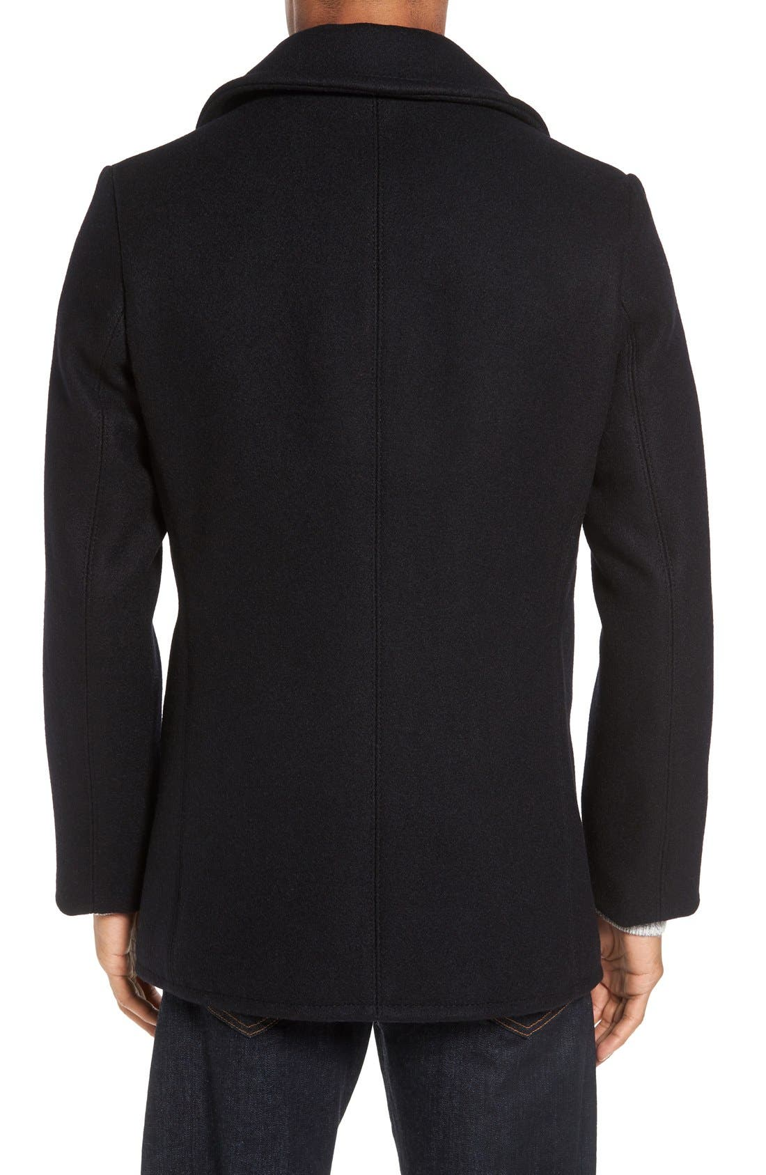Embroidered Wool Blend Peacoat,                             Alternate thumbnail 2, color,                             Navy
