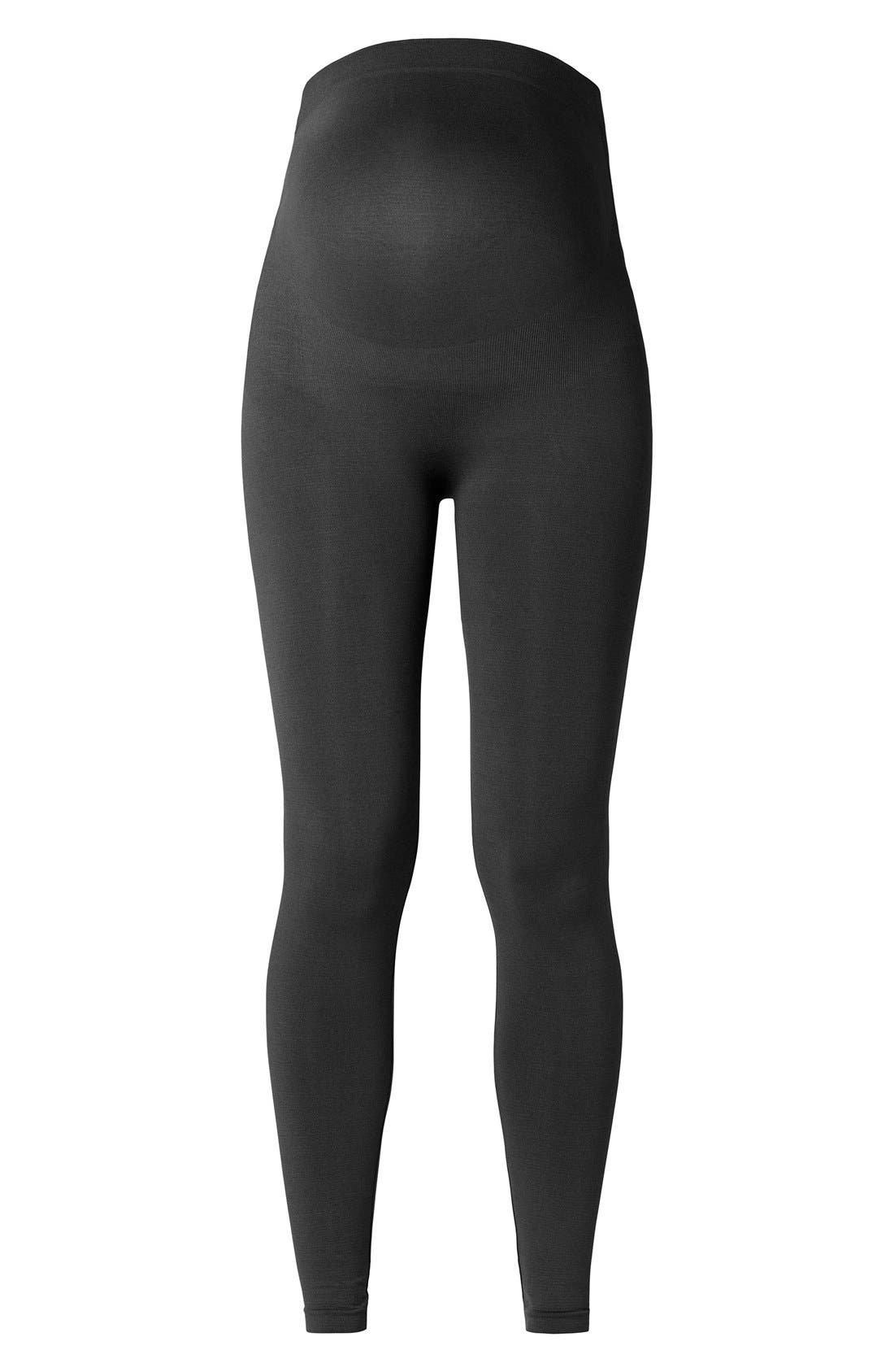 'Cara' Seamless Maternity Leggings,                         Main,                         color, Black
