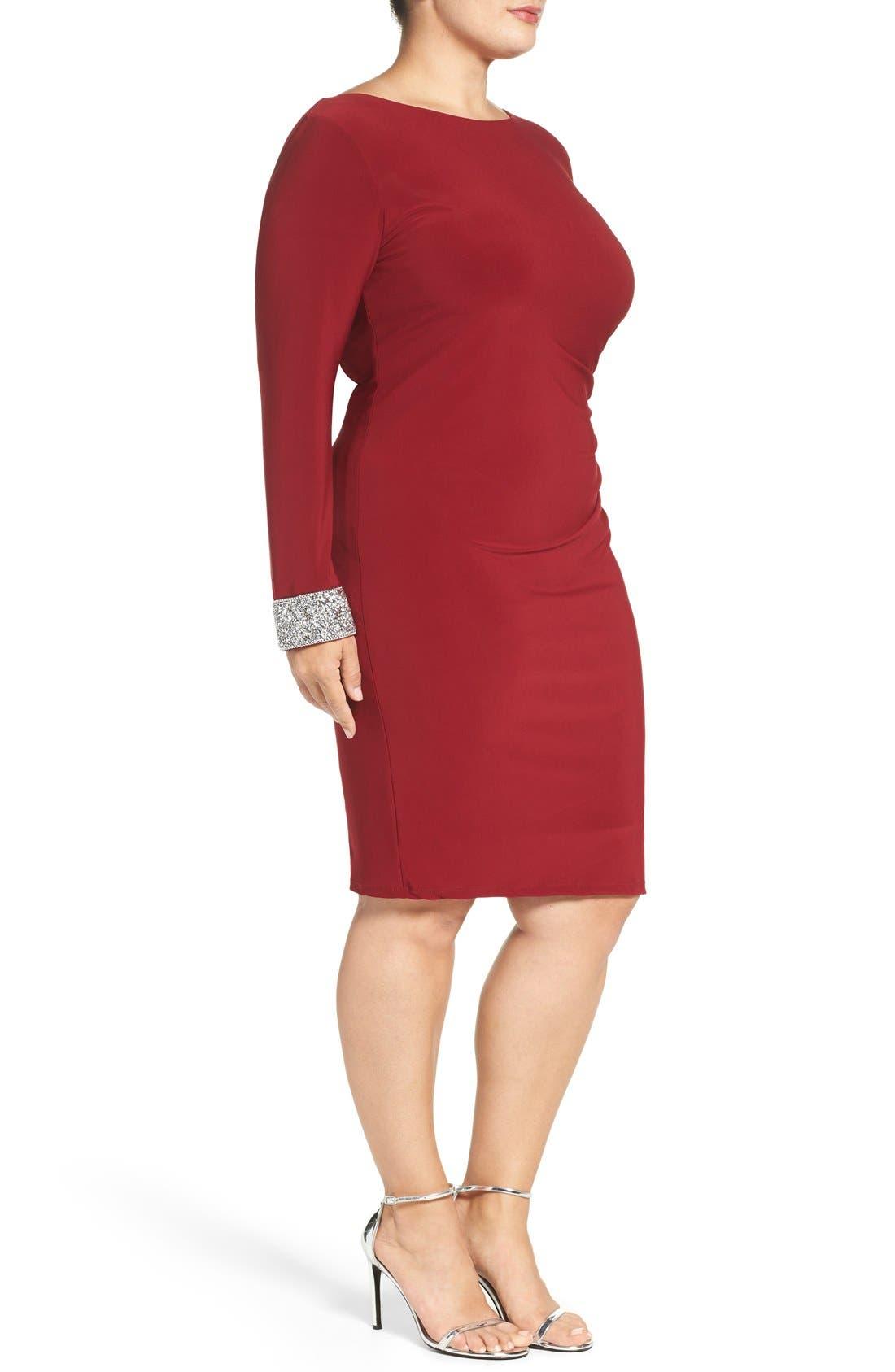 Alternate Image 3  - Marina Embellished Drape Back Jersey Cocktail Dress (Plus Size)