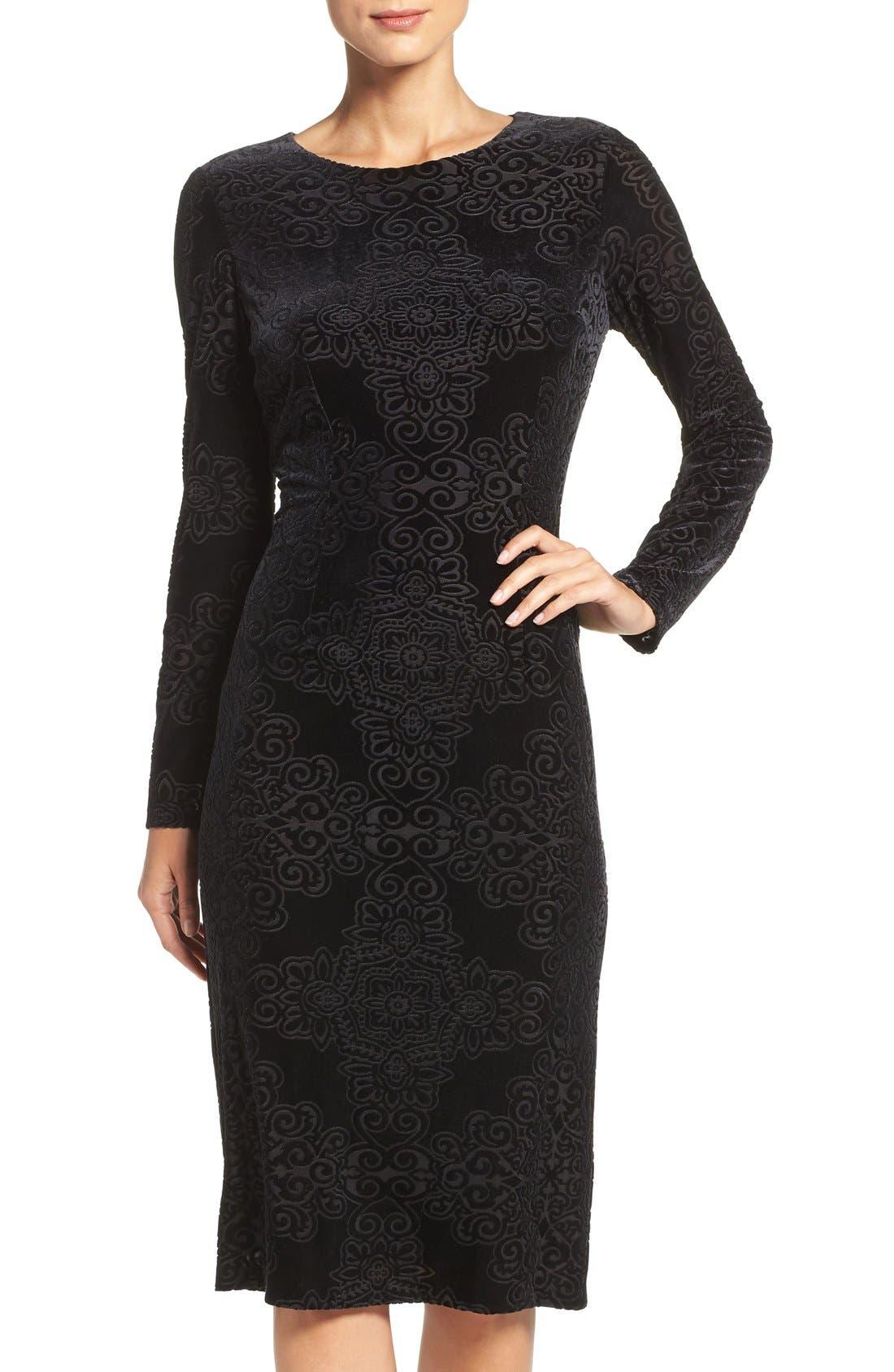 Alternate Image 4  - Maggy London Burnout Velvet Sheath Dress (Regular & Petite)