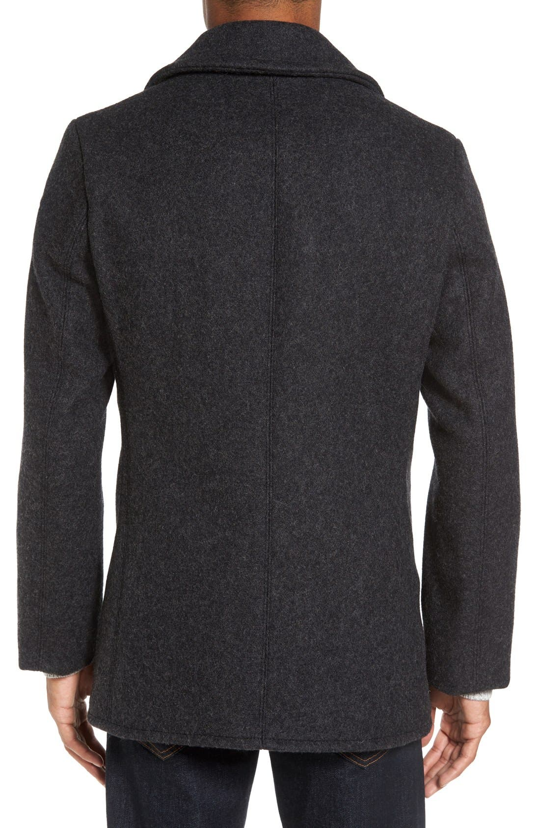 Alternate Image 2  - Schott NYC Embroidered Wool Blend Peacoat